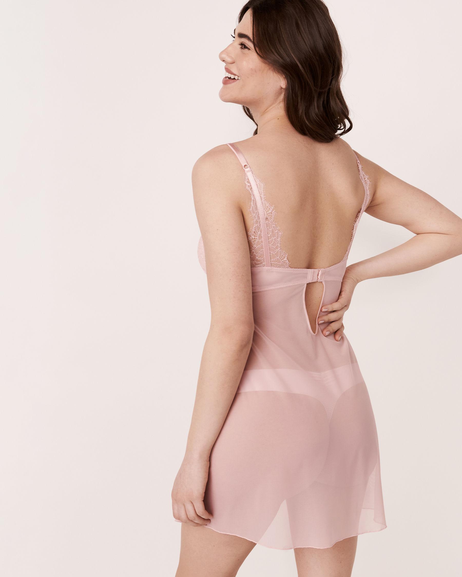 LA VIE EN ROSE Lace and Mesh Draped Babydoll Light pink 60500011 - View2