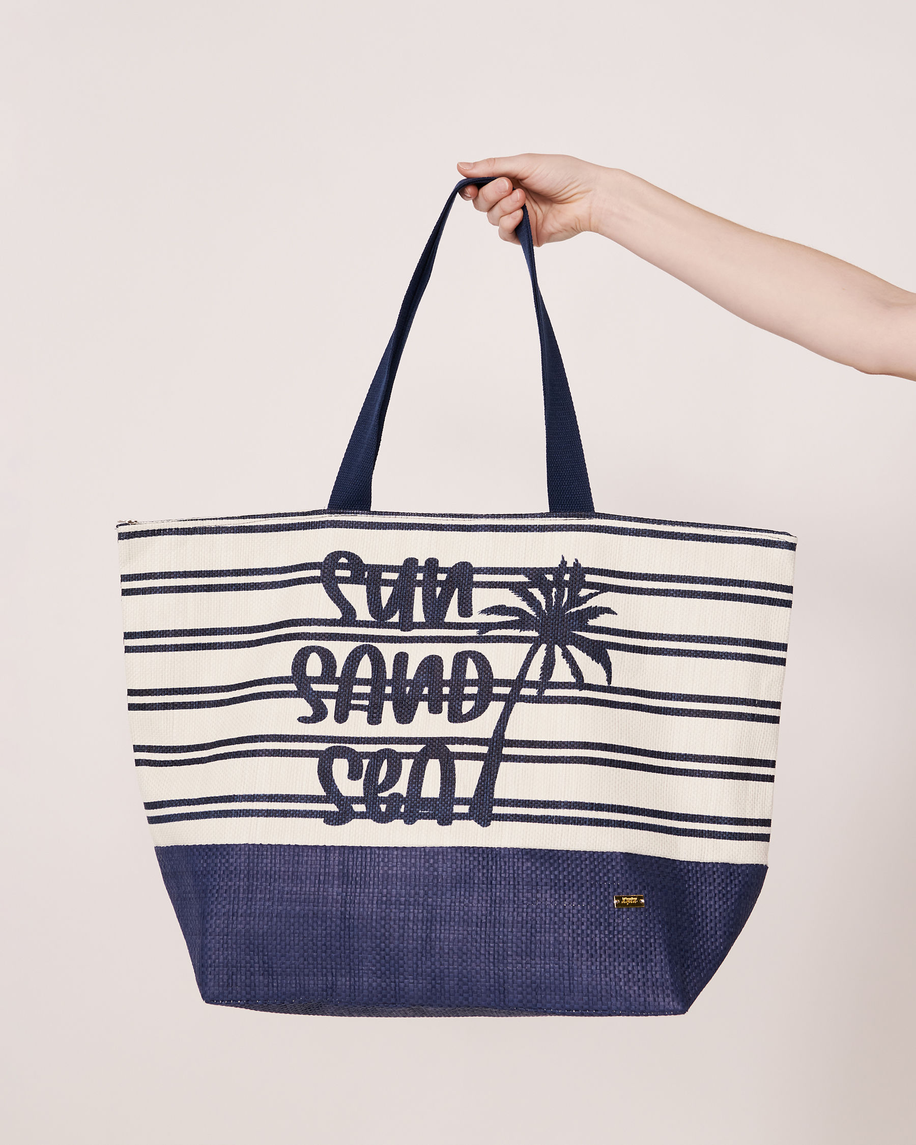 LA VIE EN ROSE AQUA SUN SAND SEA Beach Bag Blue and white stripes 80500010 - View2