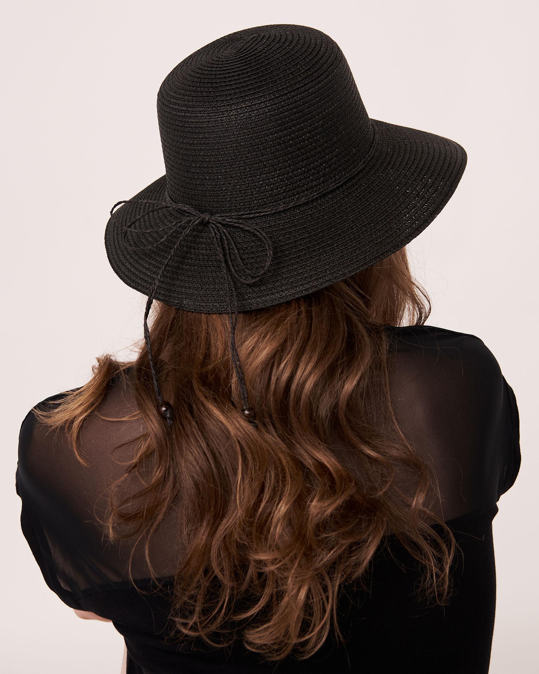 LA VIE EN ROSE AQUA Cloche Hat with String Black 80500009 - View2