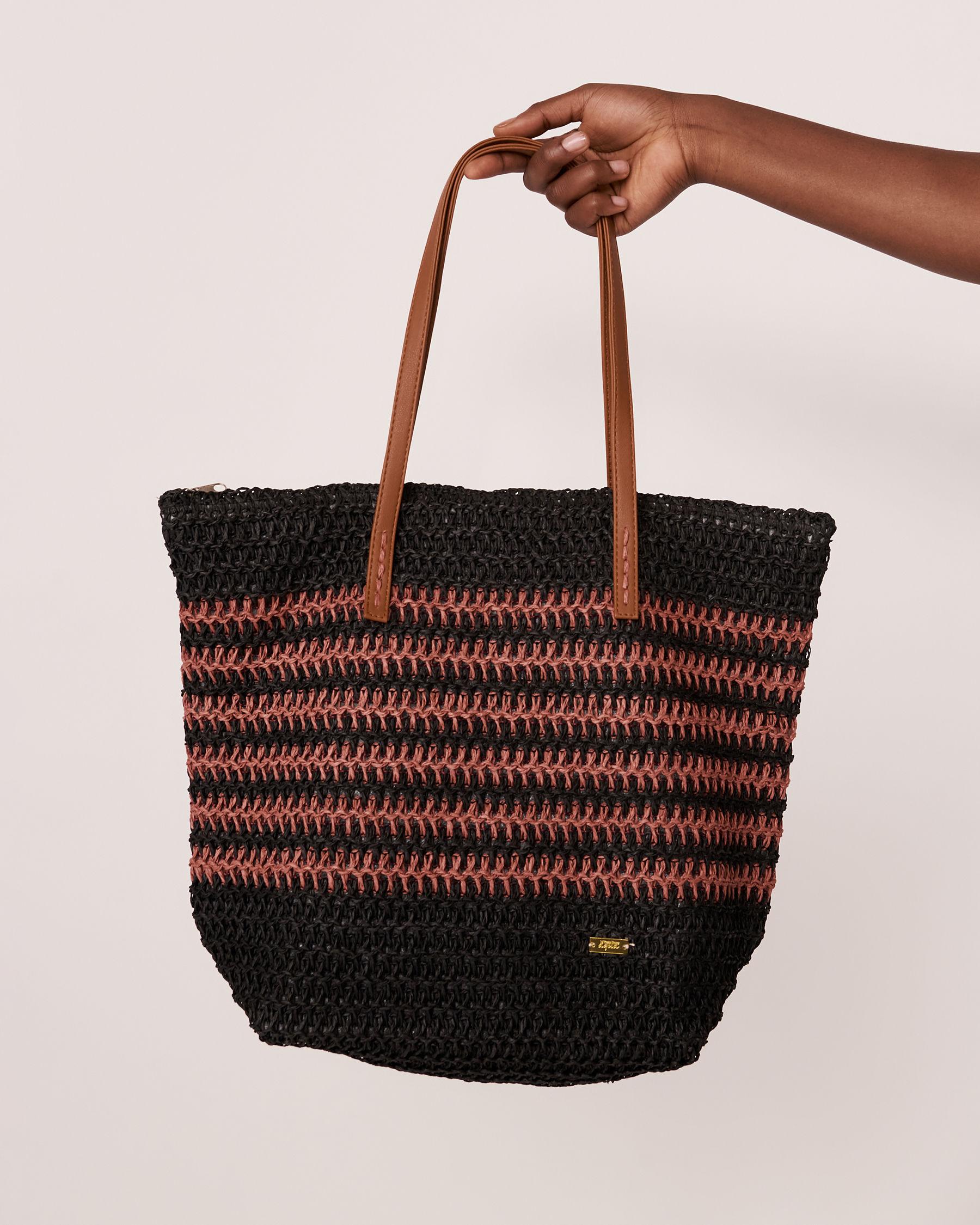 LA VIE EN ROSE AQUA Straw Beach Bag Black 80500007 - View2