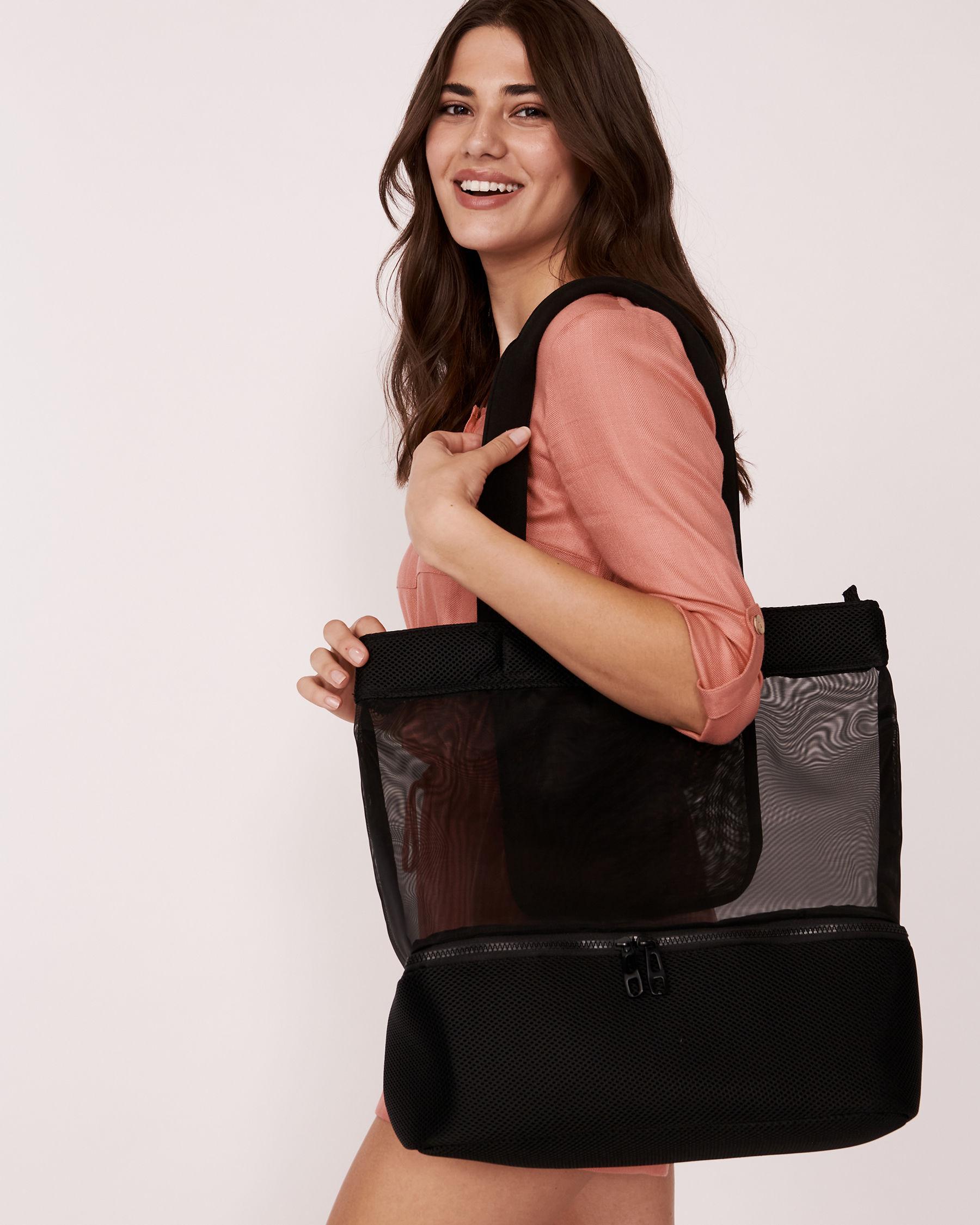 LA VIE EN ROSE AQUA Black Zipper Bag Black 671-661-0-11 - View3