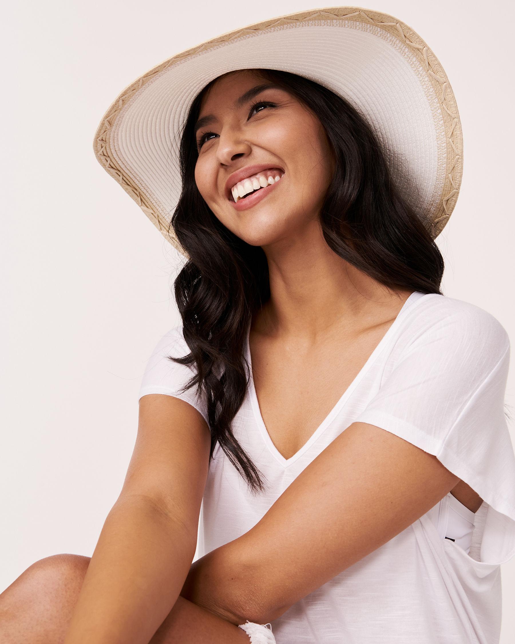 LA VIE EN ROSE AQUA Two Tone Hat White 80500005 - View1