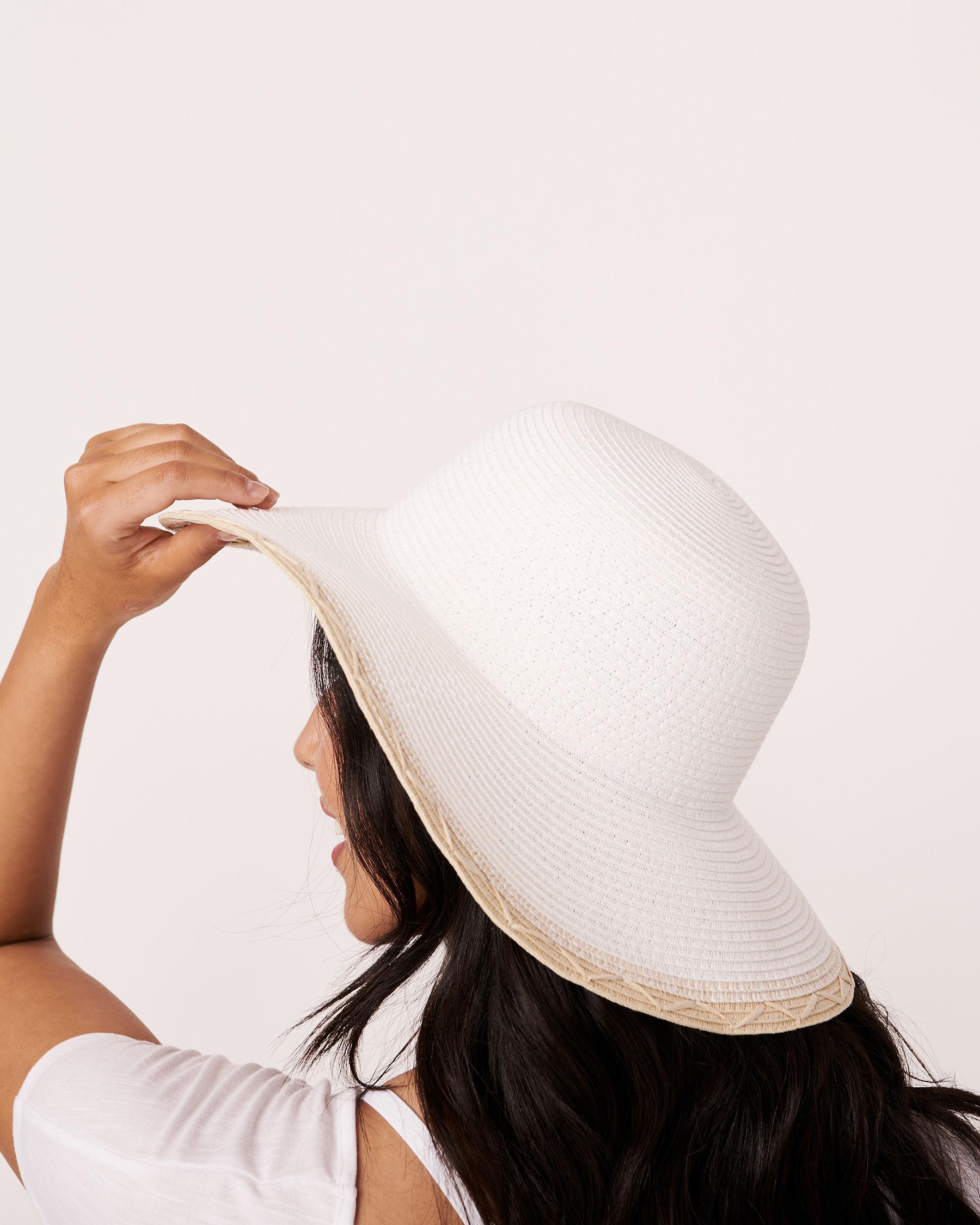 LA VIE EN ROSE AQUA Two Tone Hat White 80500005 - View2