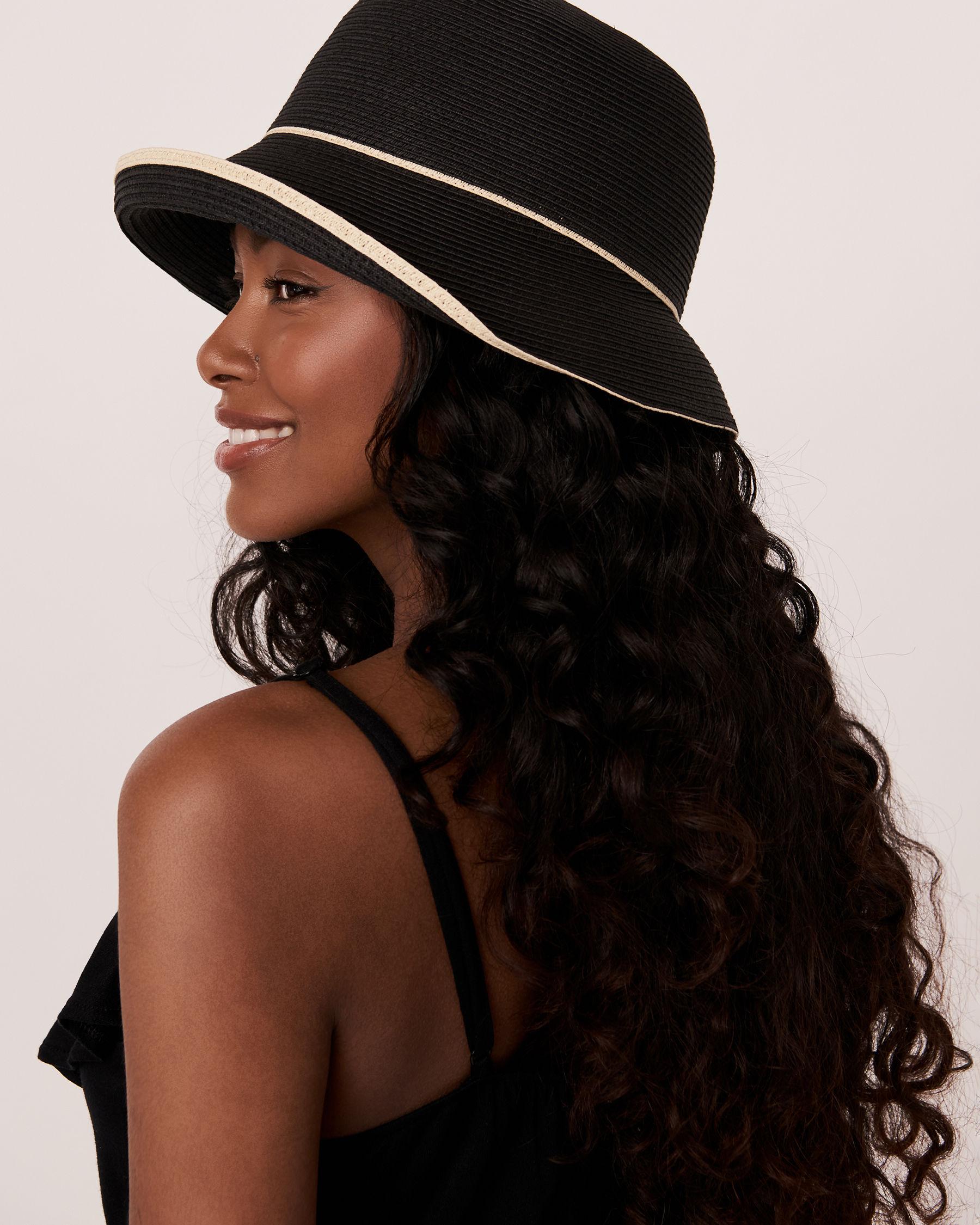 LA VIE EN ROSE AQUA Contrasting Cloche Hat Black 80500033 - View2