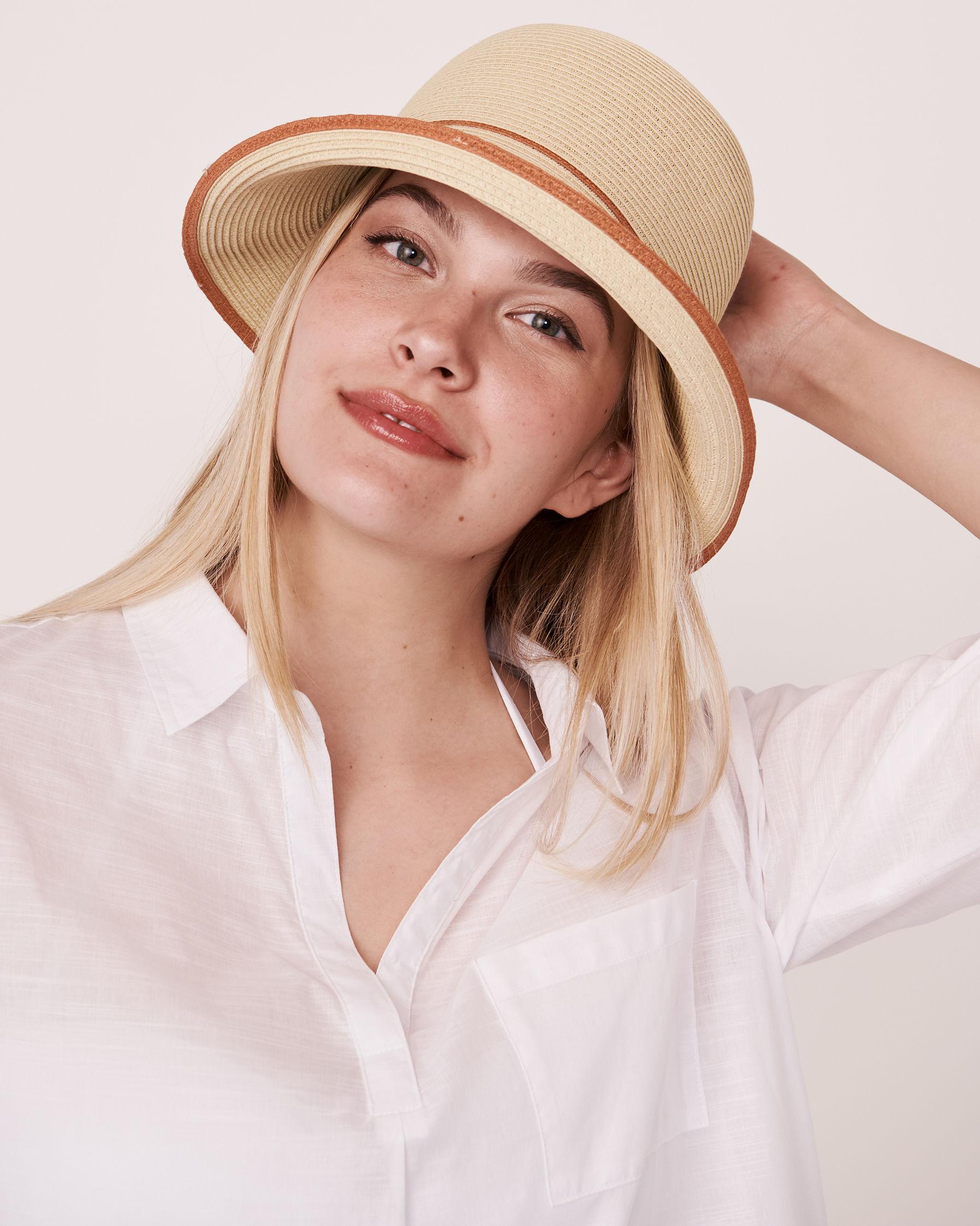 LA VIE EN ROSE AQUA Contrasting Cloche Hat Sand 80500033 - View1