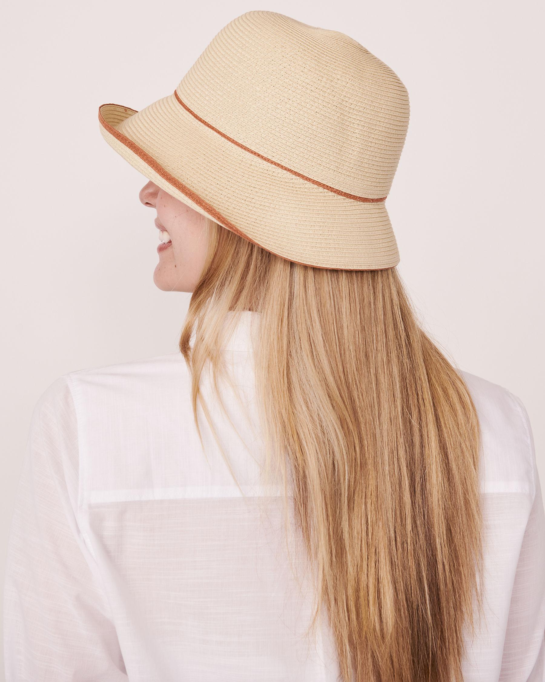 LA VIE EN ROSE AQUA Contrasting Cloche Hat Sand 80500033 - View2