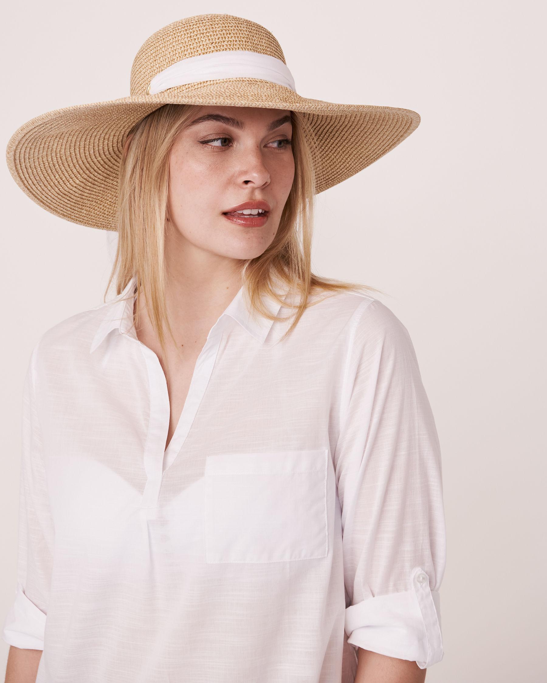 LA VIE EN ROSE AQUA Hat with Ribbon Sand 80500015 - View1