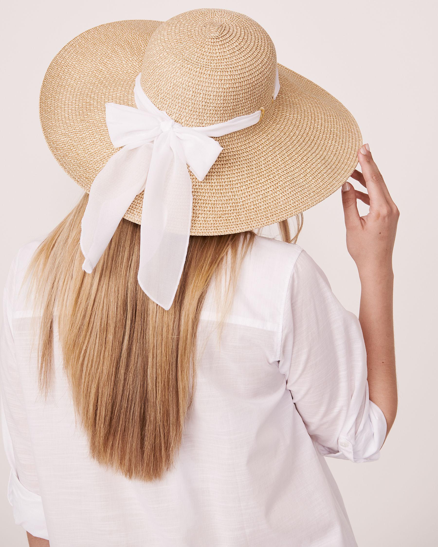 LA VIE EN ROSE AQUA Hat with Ribbon Sand 80500015 - View2