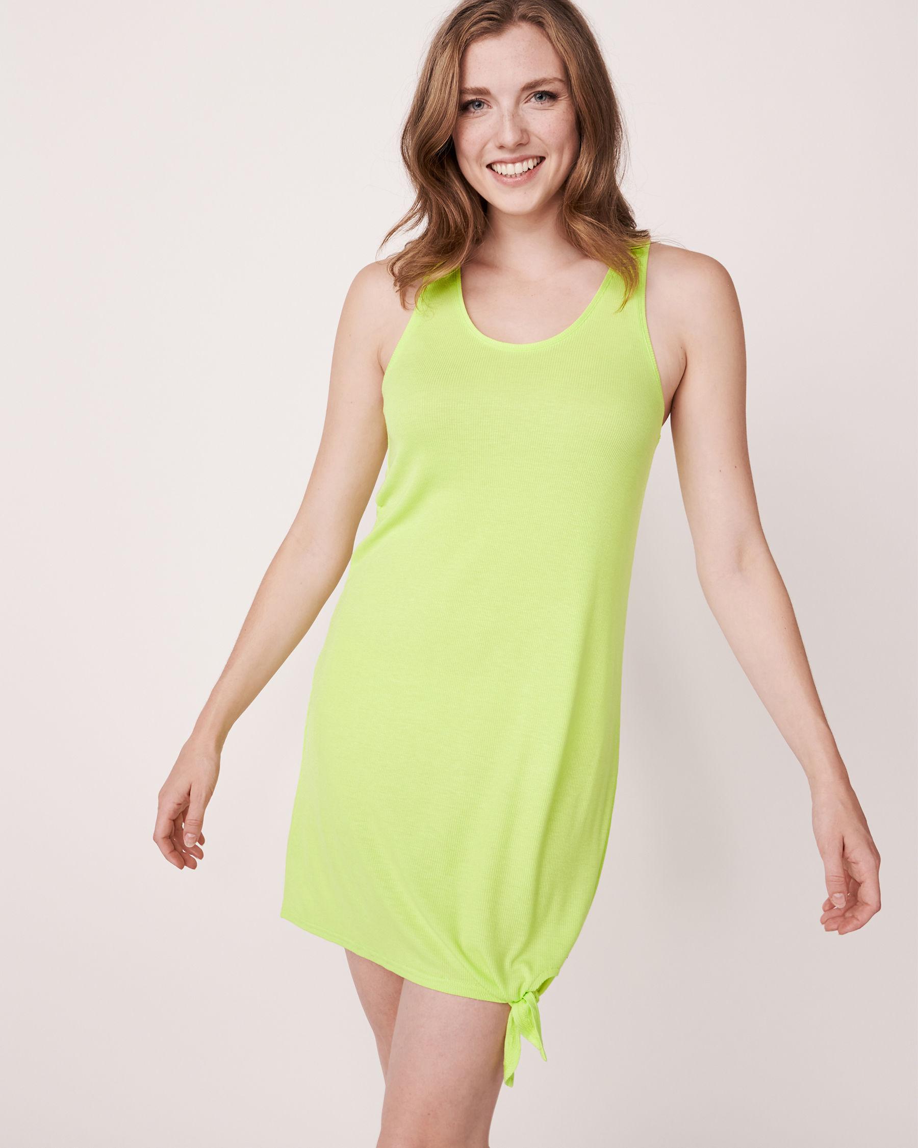 LA VIE EN ROSE AQUA Knotted Sleeveless Dress Lime 80400002 - View3