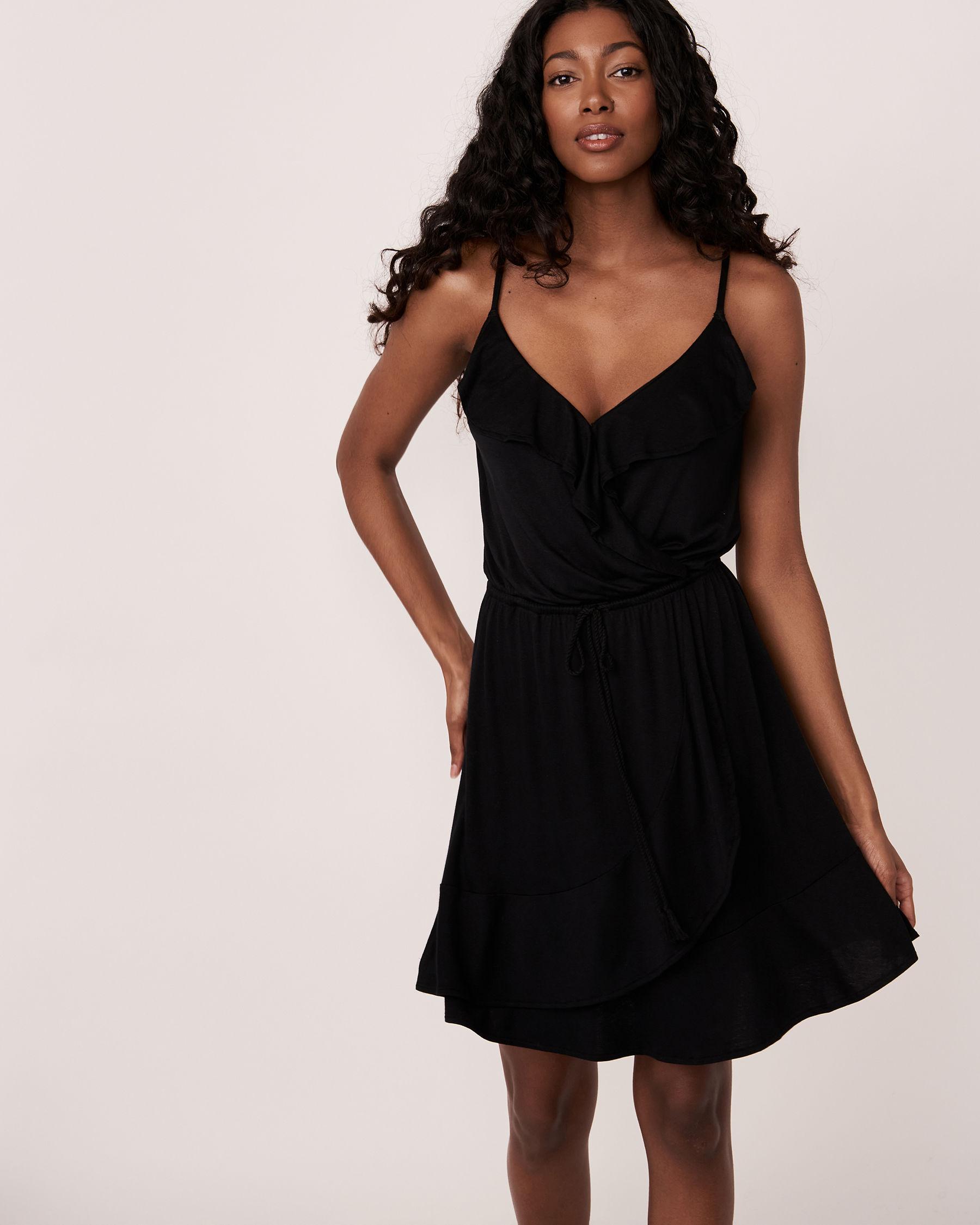 LA VIE EN ROSE AQUA Short Ruffle Dress Black 80300016 - View1