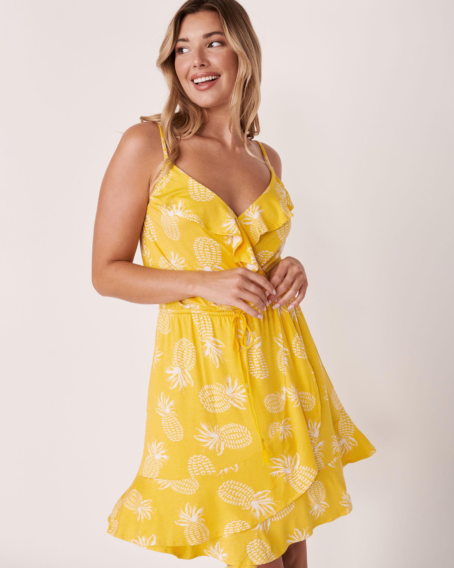 LA VIE EN ROSE AQUA Short Ruffle Dress Pineapple print 80300016 - View1