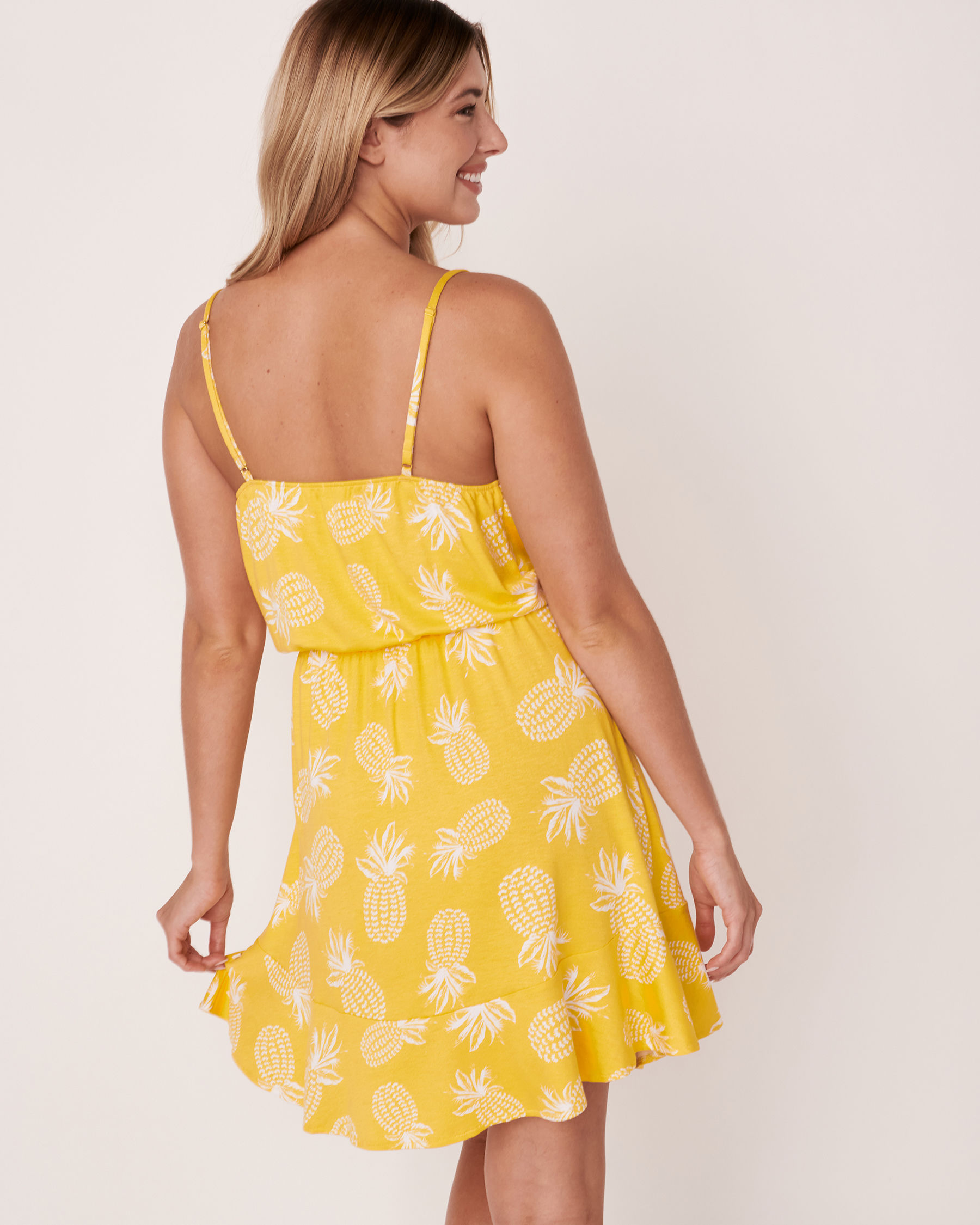 LA VIE EN ROSE AQUA Short Ruffle Dress Pineapple print 80300016 - View2