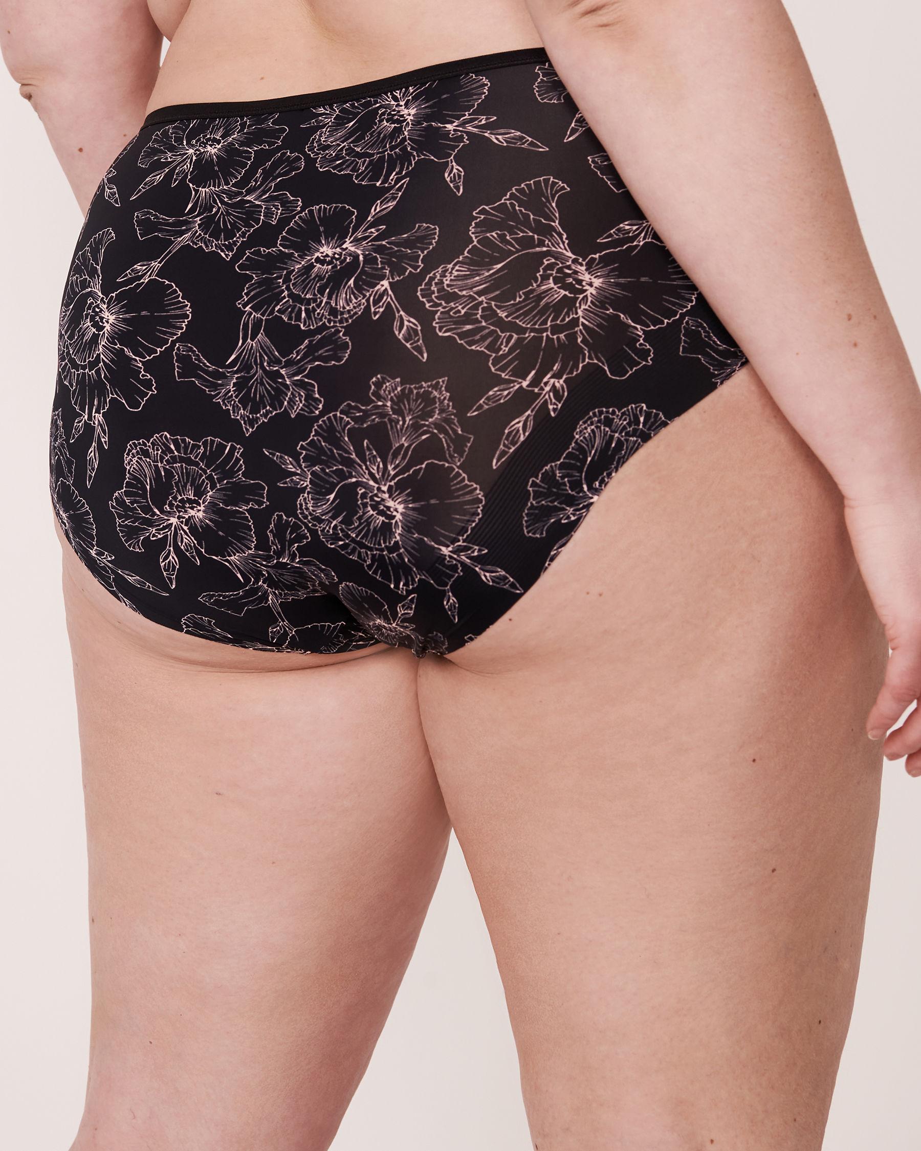 LA VIE EN ROSE Recycled Fibers High Waist Bikini Panty Black flower 20300037 - View2