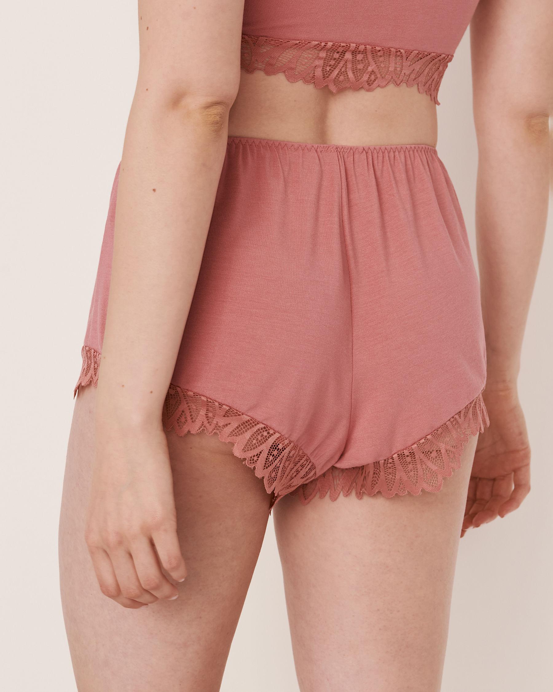 LA VIE EN ROSE Short garniture de dentelle en modal Vieux rose 40200075 - Voir2