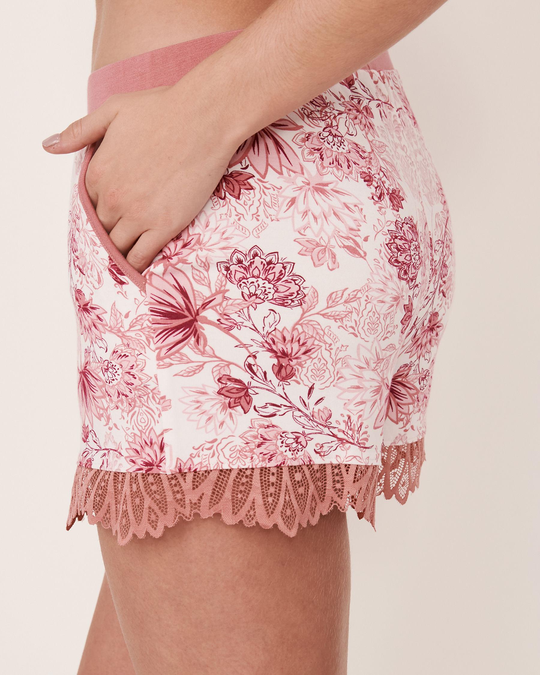 LA VIE EN ROSE Lace Trim Modal Short Pink flowers 40200076 - View2