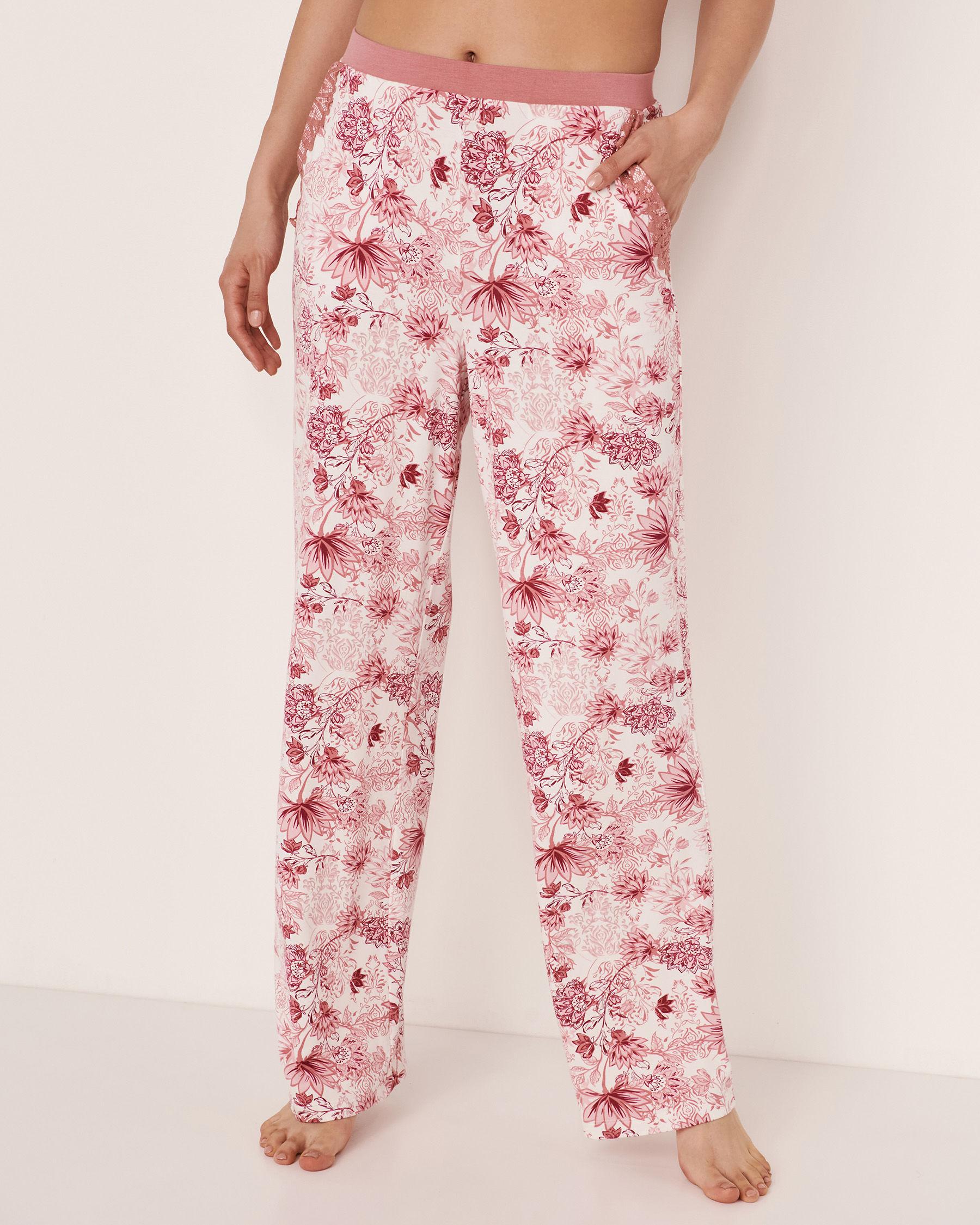 LA VIE EN ROSE Lace Trim Modal Pant Pink flowers 40200077 - View1