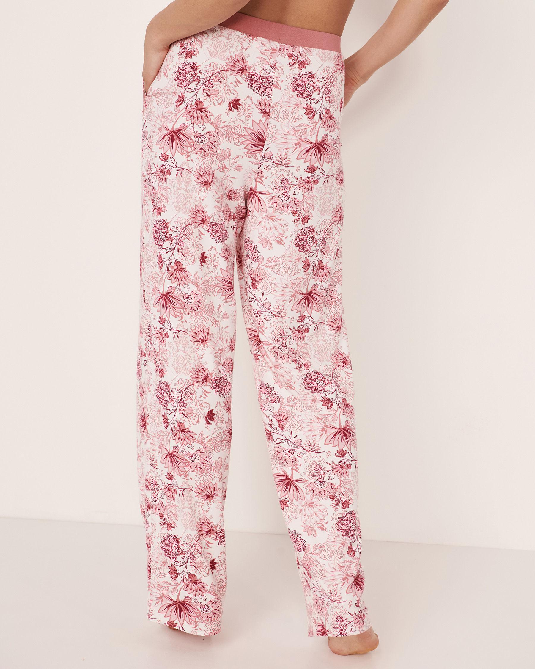LA VIE EN ROSE Lace Trim Modal Pant Pink flowers 40200077 - View2