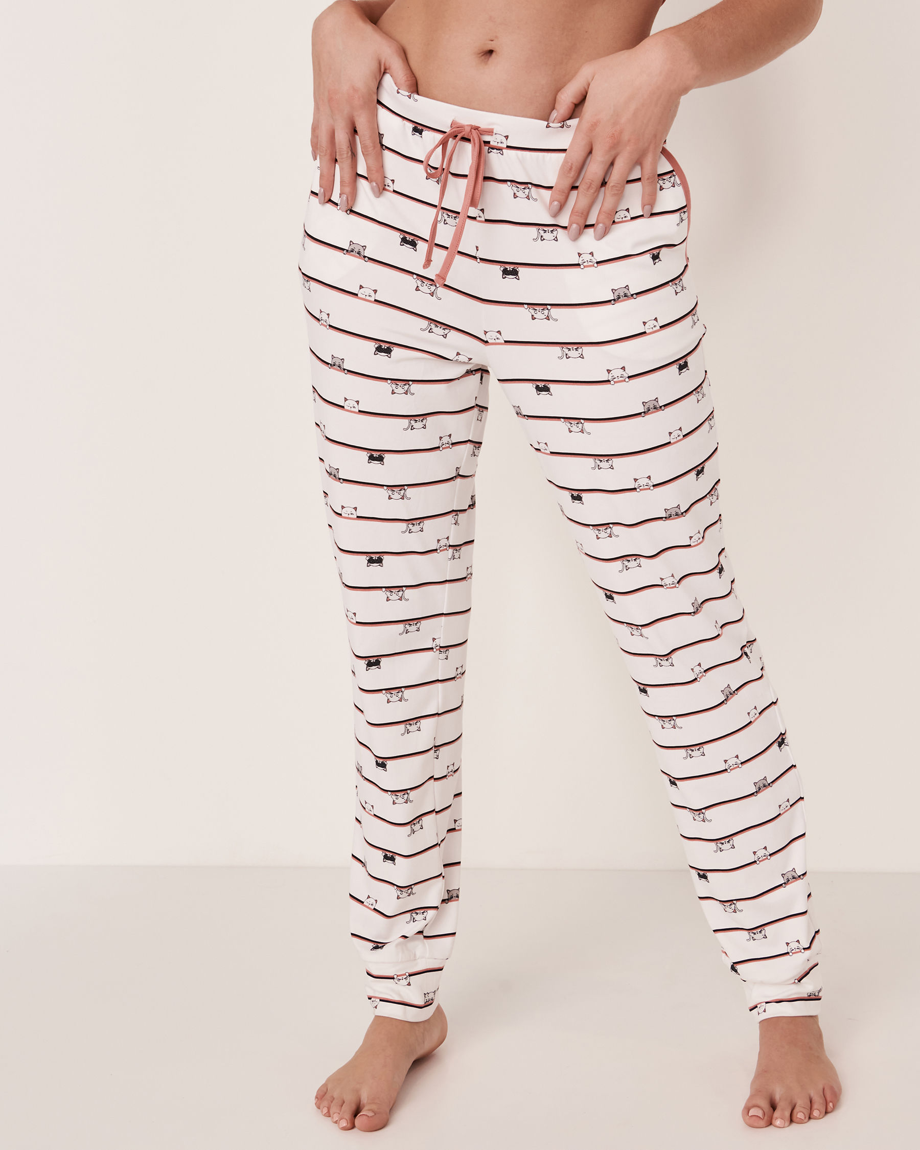 LA VIE EN ROSE Fitted Pyjama Pant Cats stripe 40200081 - View1