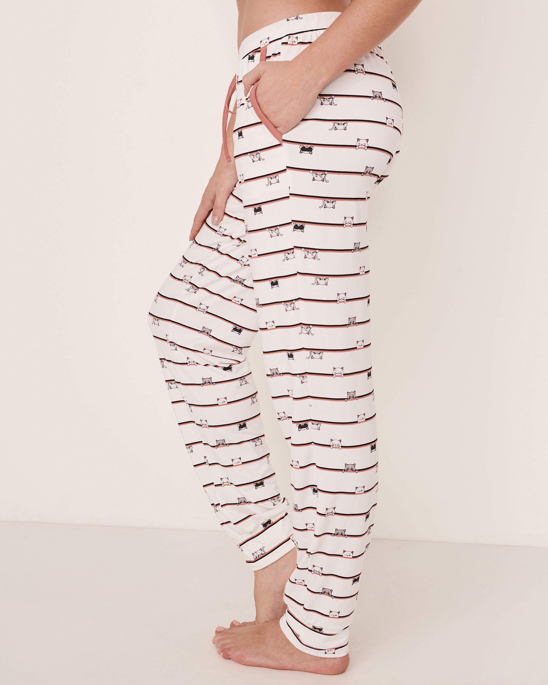 LA VIE EN ROSE Fitted Pyjama Pant Cats stripe 40200081 - View2