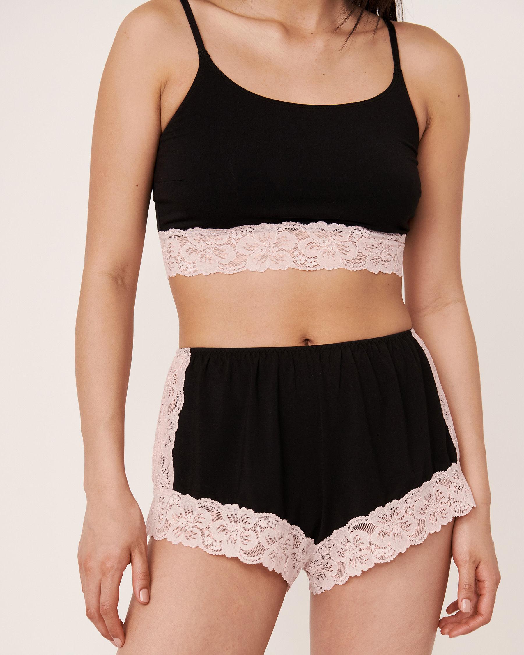 LA VIE EN ROSE Lace Trim Modal Short Black 40200084 - View1