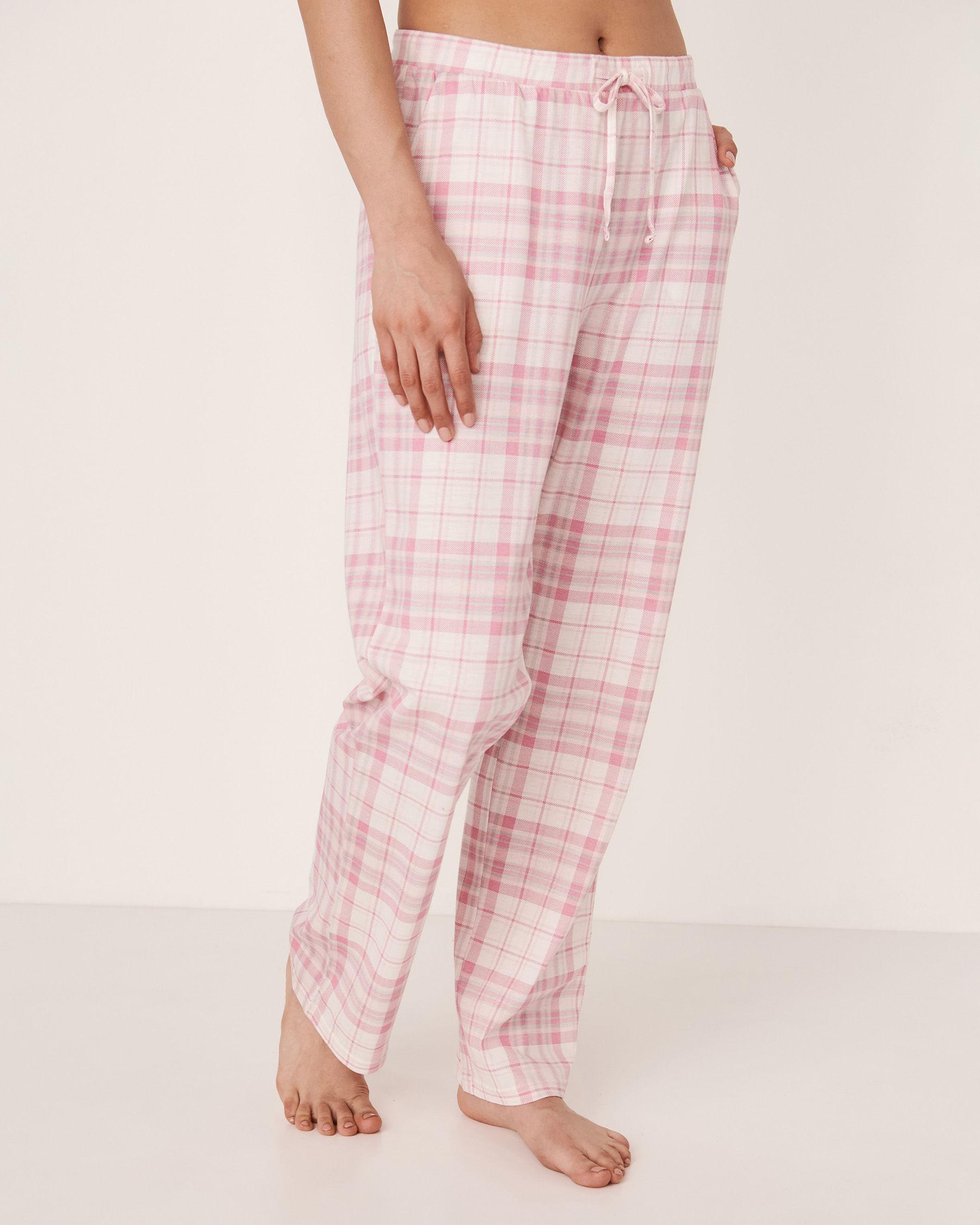 LA VIE EN ROSE Pantalon jambe droite Carreaux roses 40200100 - Voir1