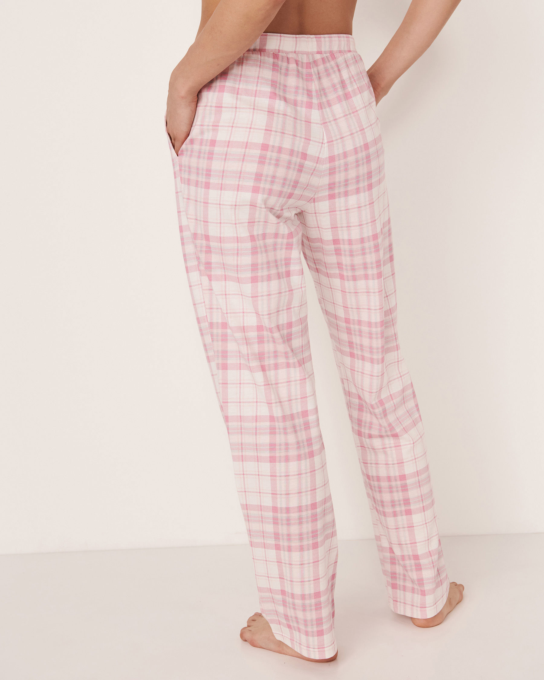 LA VIE EN ROSE Pantalon jambe droite Carreaux roses 40200100 - Voir2