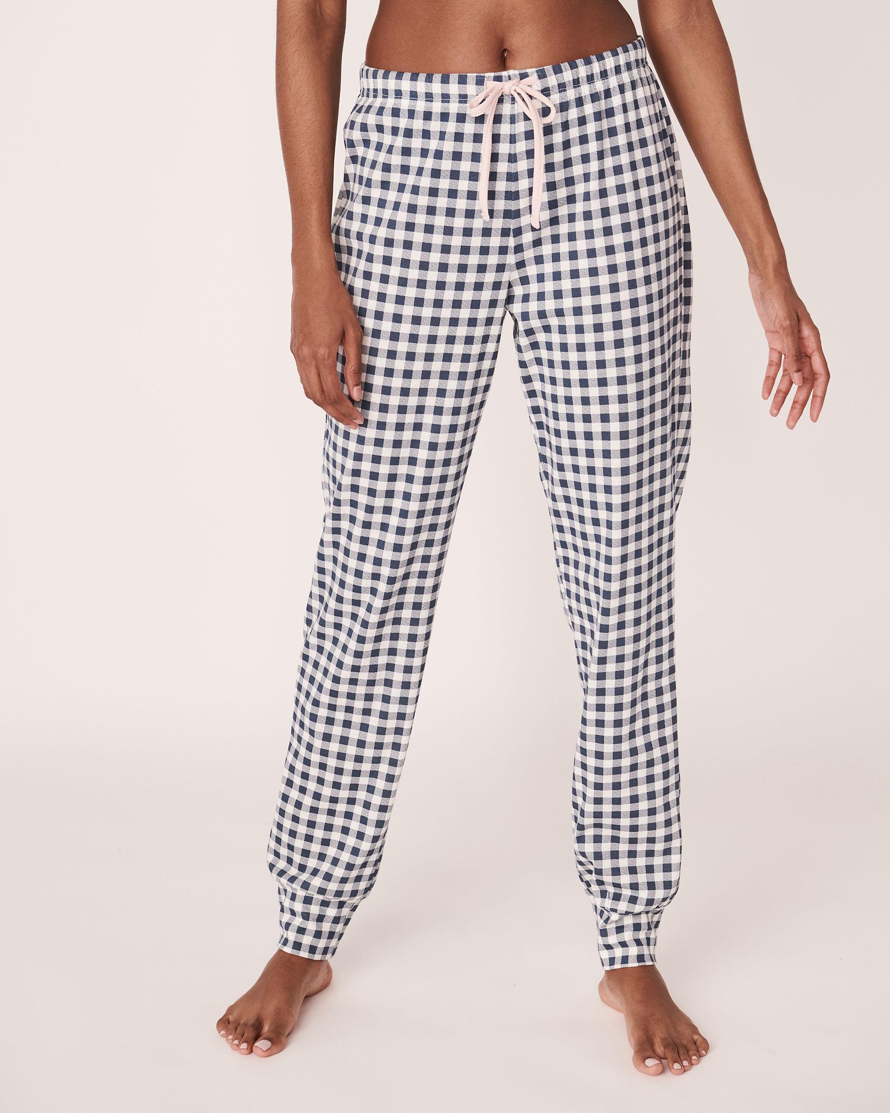 LA VIE EN ROSE Pantalon de pyjama ajusté Vichy marine 40200109 - Voir1
