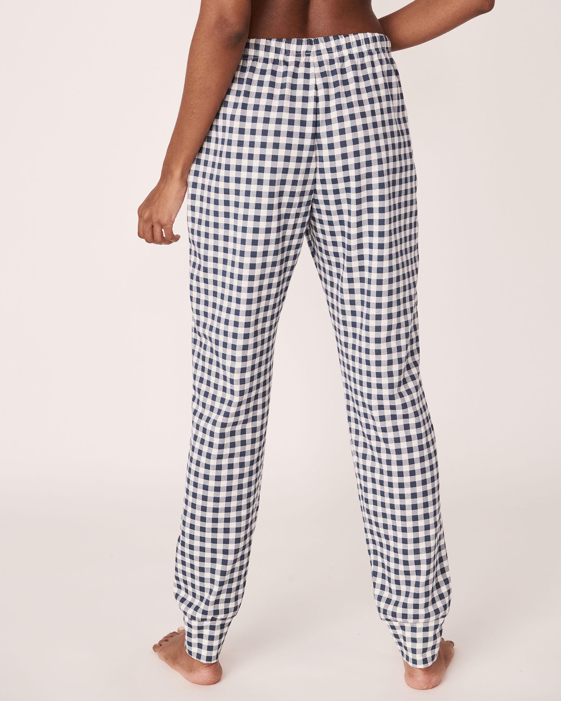 LA VIE EN ROSE Pantalon de pyjama ajusté Vichy marine 40200109 - Voir2