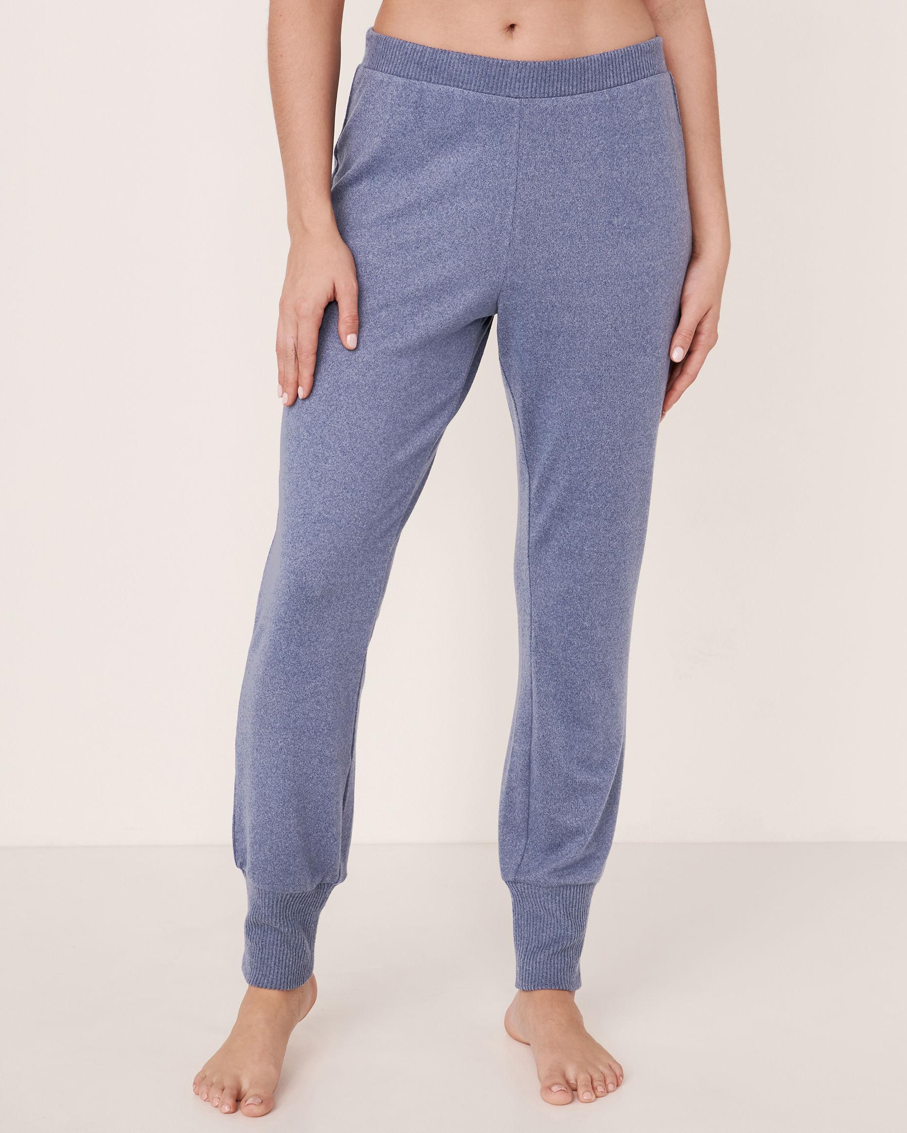 LA VIE EN ROSE Soft Knit Fitted Pant Blue denim mix 50200008 - View1