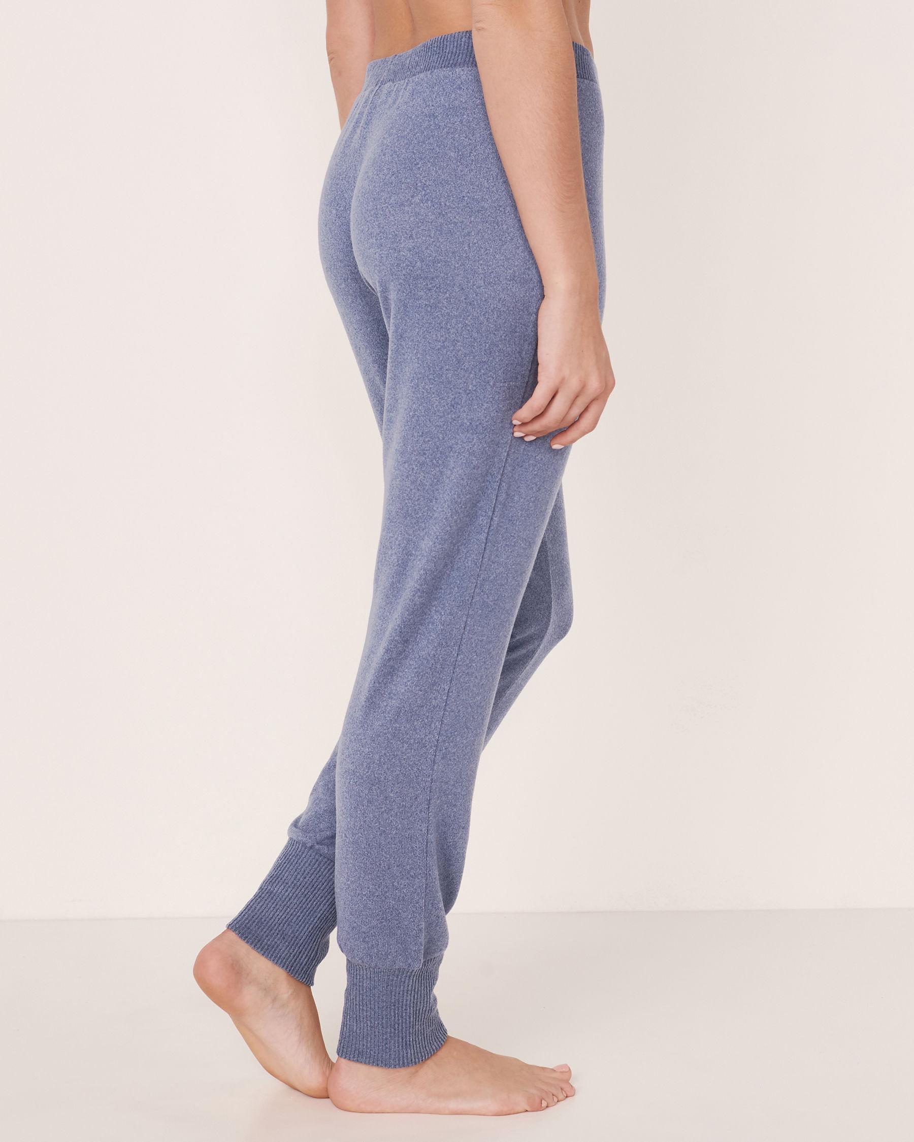LA VIE EN ROSE Soft Knit Fitted Pant Blue denim mix 50200008 - View2