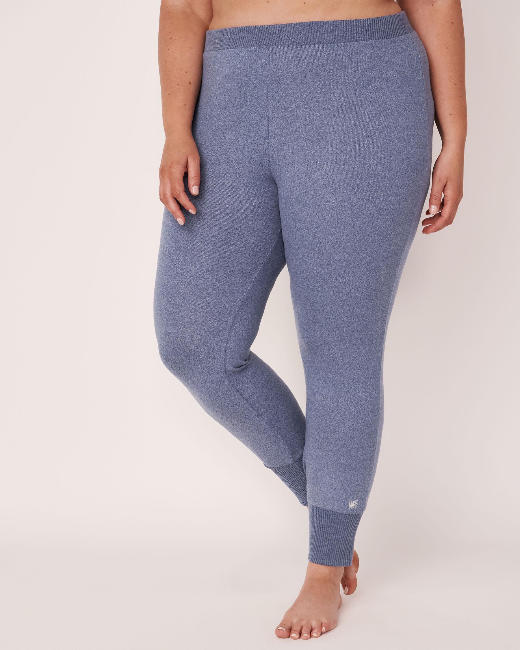 LA VIE EN ROSE Soft Knit Fitted Pant Blue denim mix 50200008 - View3
