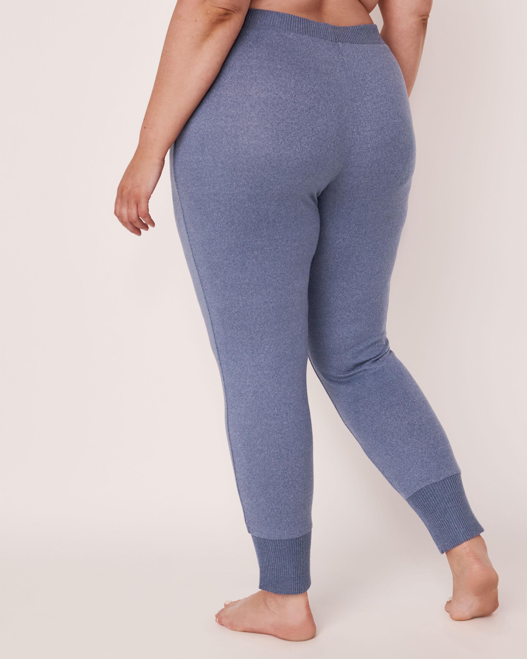 LA VIE EN ROSE Soft Knit Fitted Pant Blue denim mix 50200008 - View4