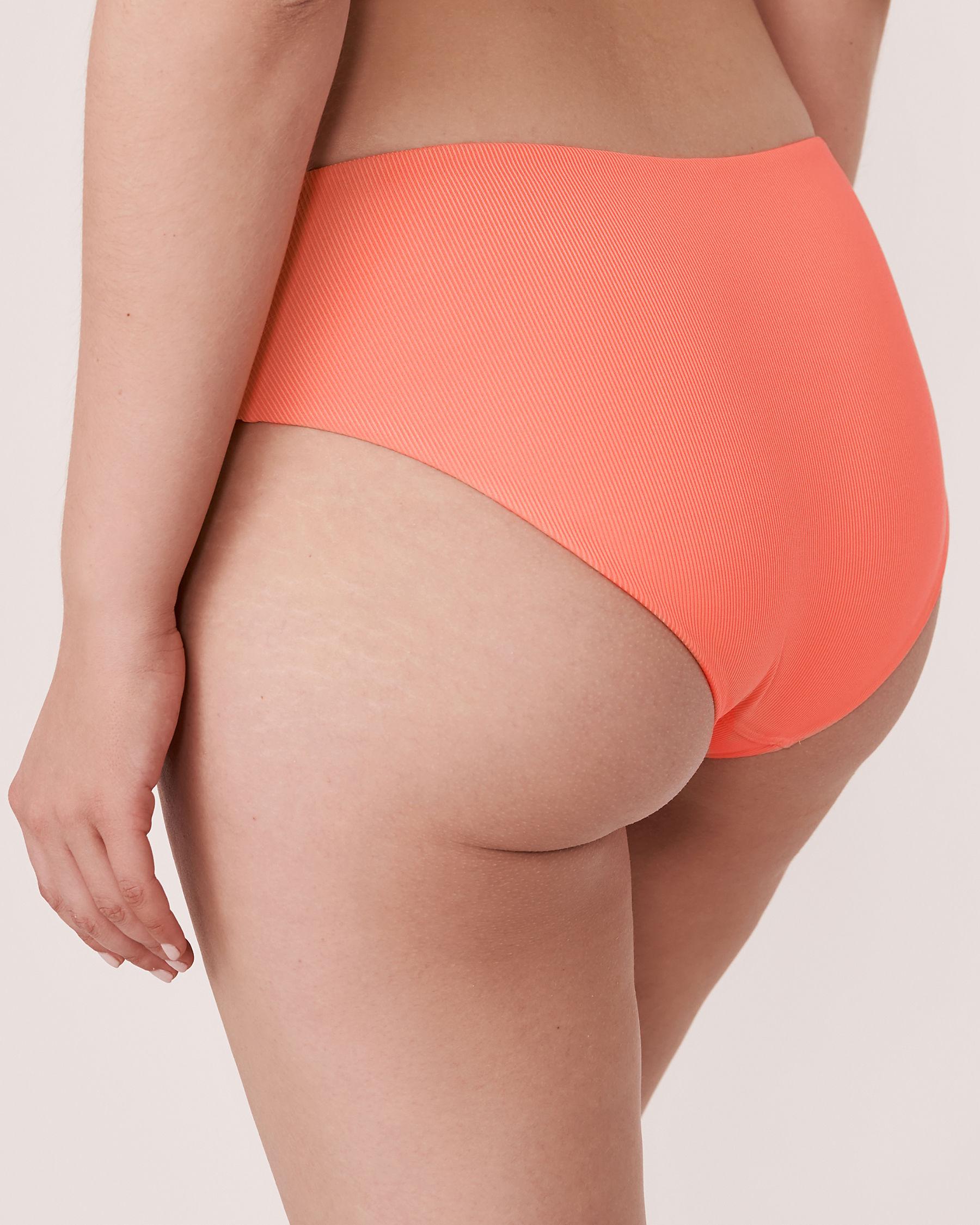 AQUAROSE Bas de bikini hipster en fibres recyclées SOLID RIB Corail 70300051 - Voir2