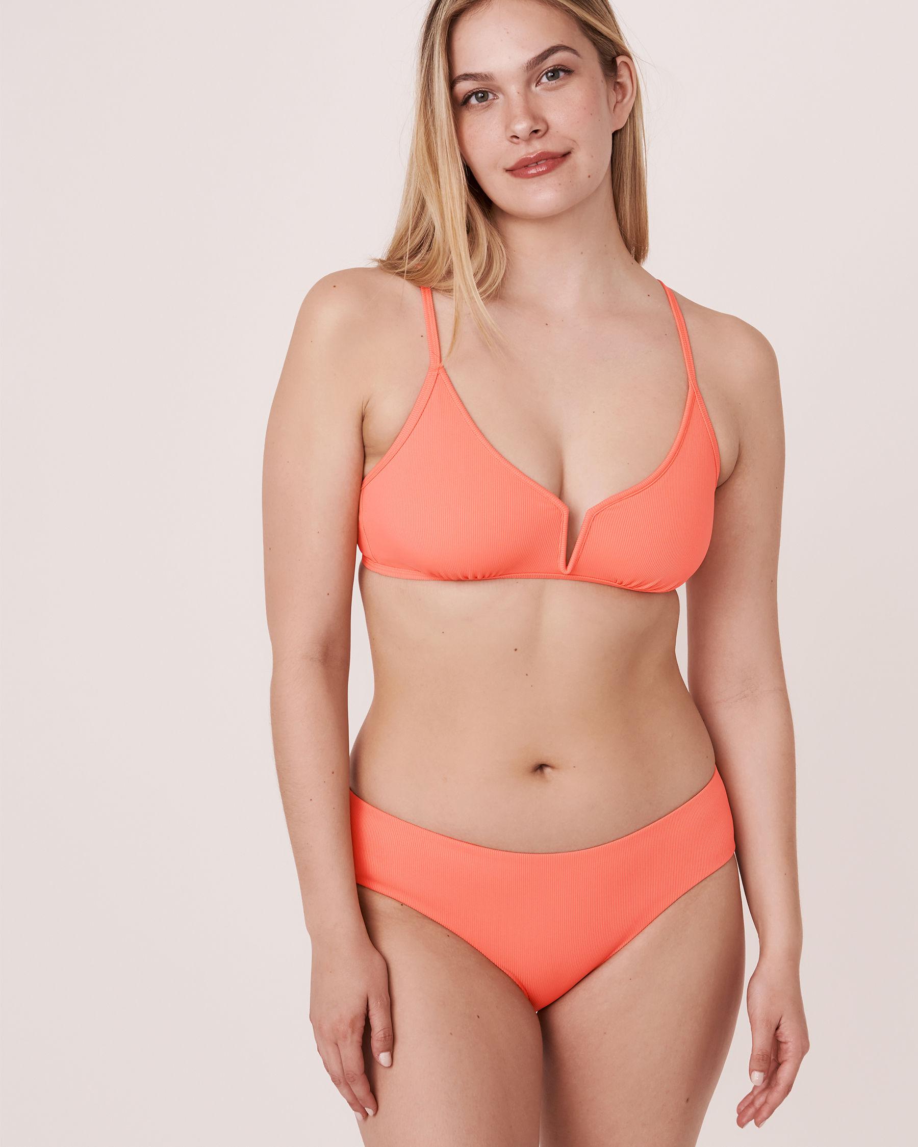 AQUAROSE Bas de bikini hipster en fibres recyclées SOLID RIB Corail 70300051 - Voir3