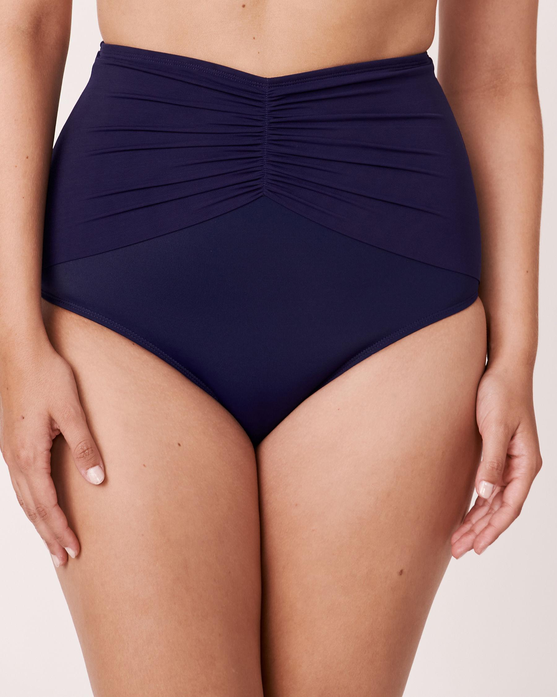 LA VIE EN ROSE AQUA SOLID Gathered High Waist Bikini Bottom Blue 669-691-1-0P - View1