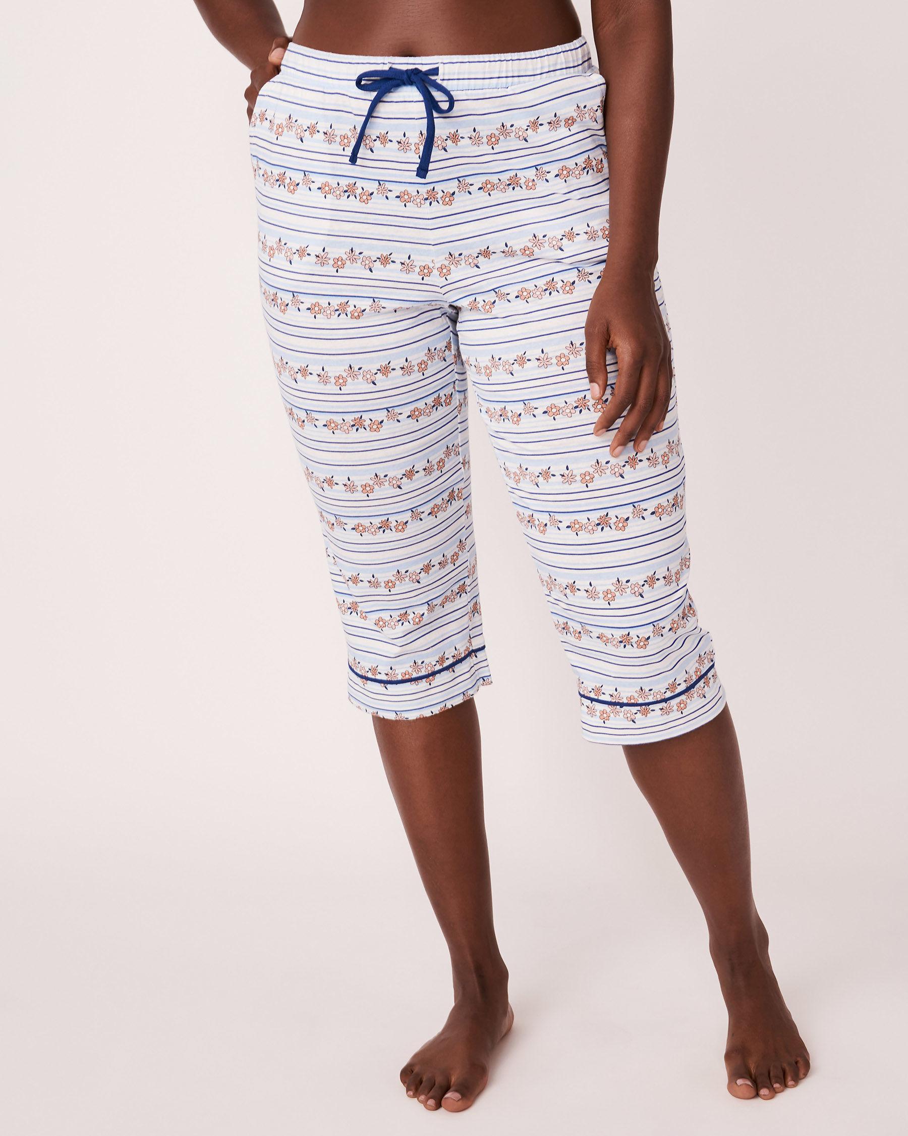 LA VIE EN ROSE Elastic Waistband Straight Leg Capri Stripes and print 878-389-1-11 - View1