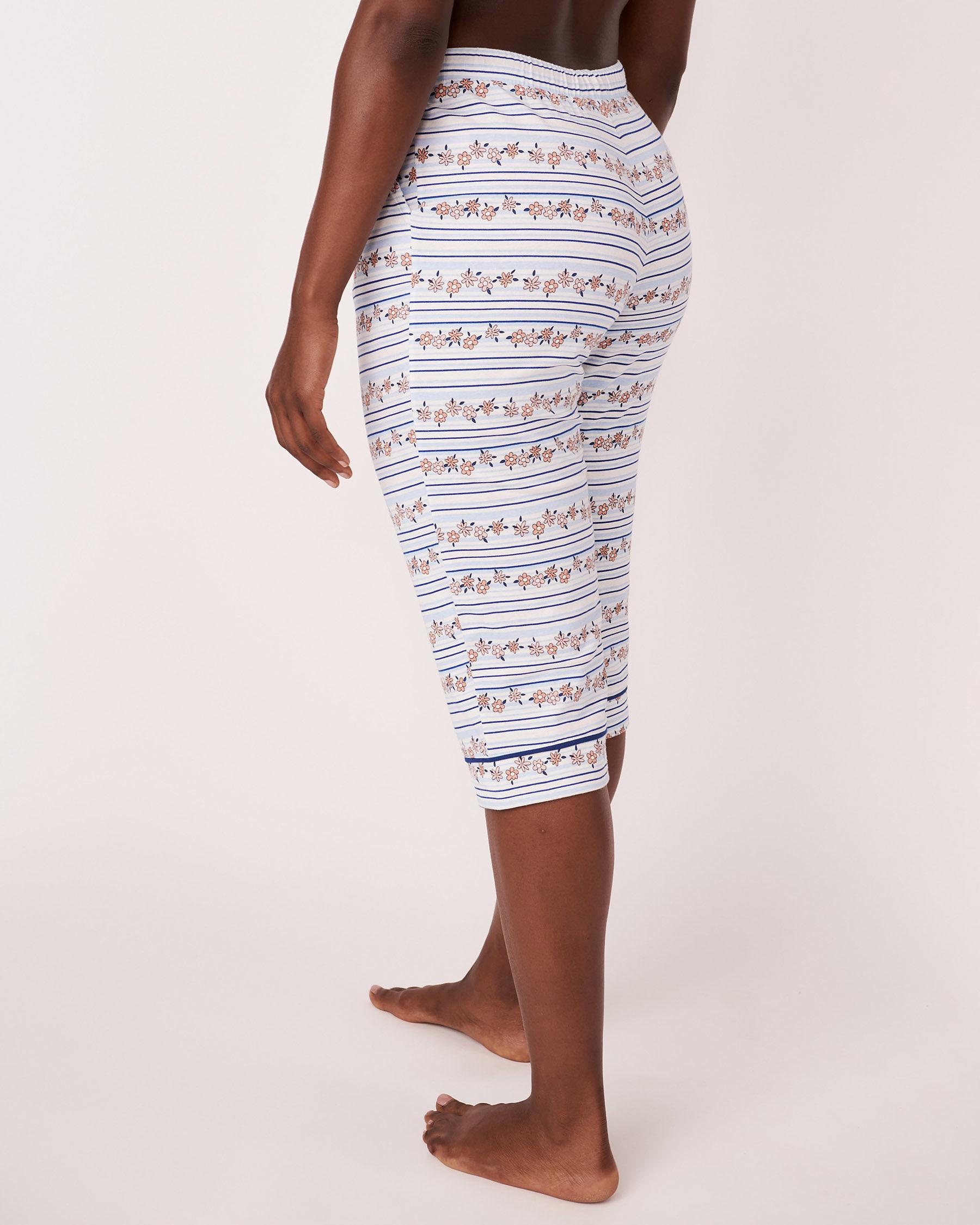 LA VIE EN ROSE Elastic Waistband Straight Leg Capri Stripes and print 878-389-1-11 - View2