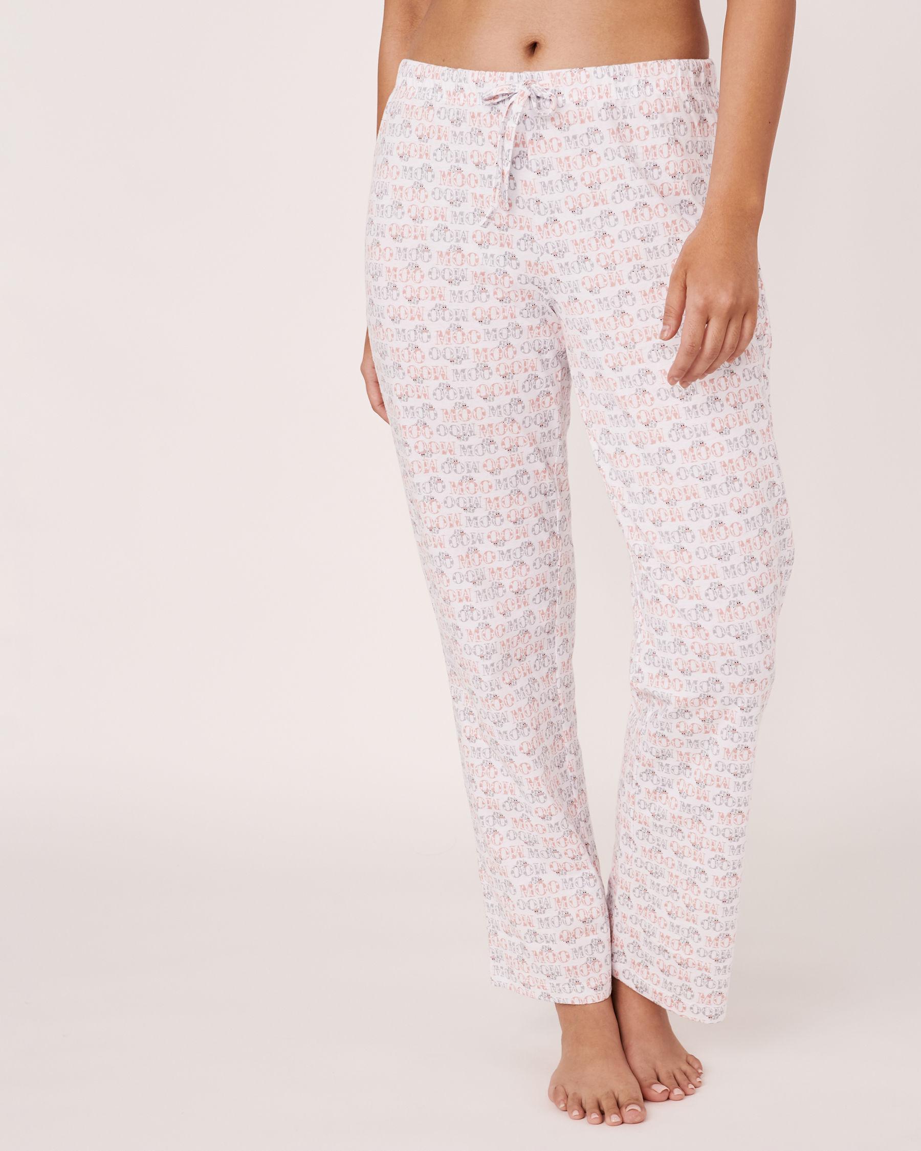 LA VIE EN ROSE Straight Leg Pyjama Pant MOO text 40200122 - View1