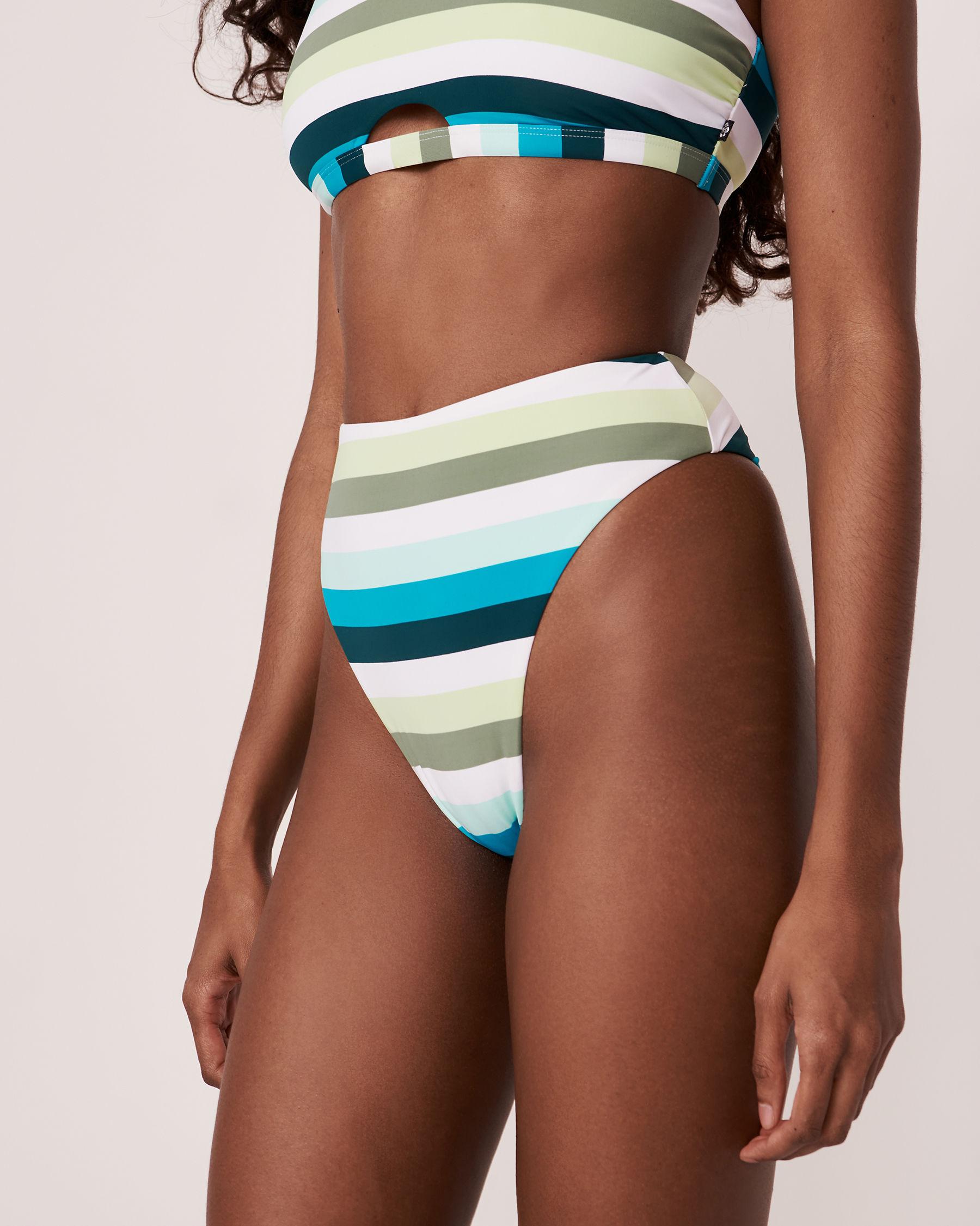 LA VIE EN ROSE AQUA Bas de bikini tanga taille haute LAGOON Tons de bleu 70300092 - Voir1