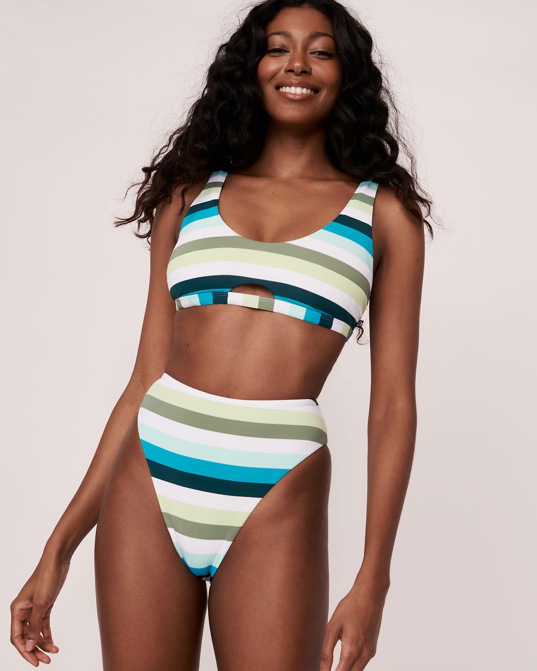 LA VIE EN ROSE AQUA Bas de bikini tanga taille haute LAGOON Tons de bleu 70300092 - Voir3