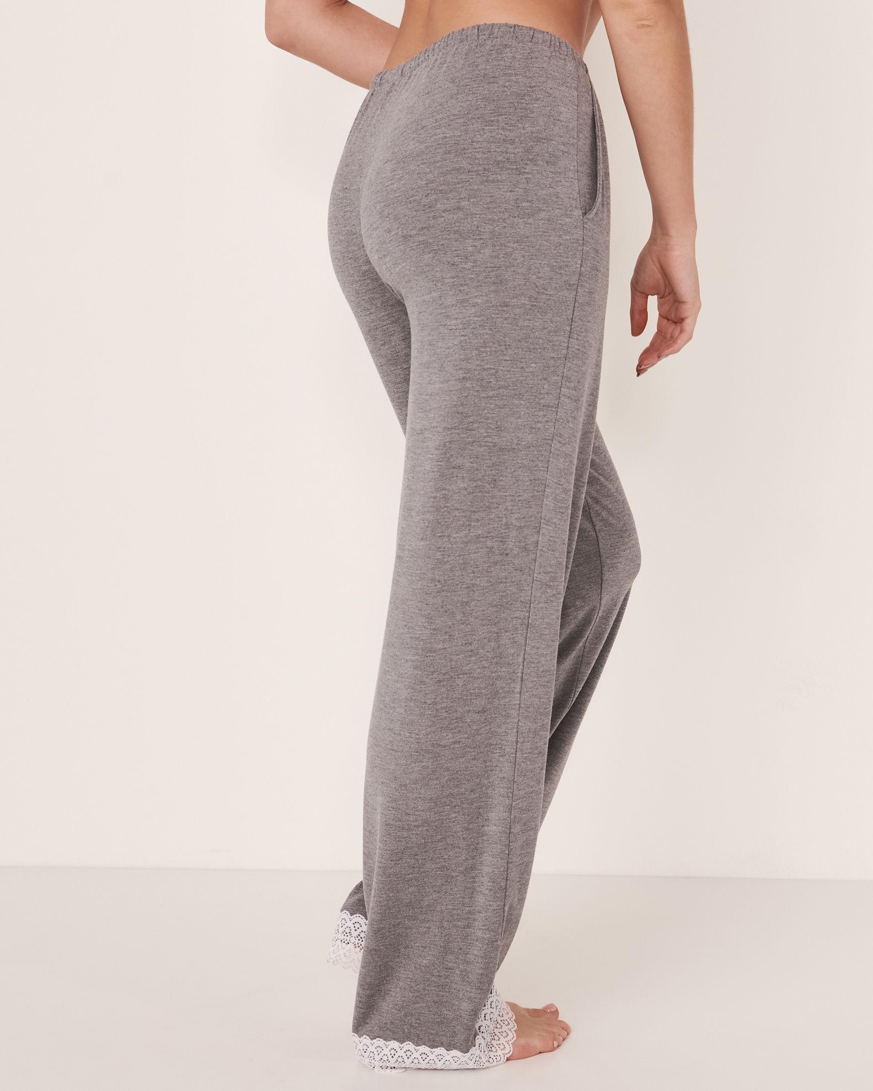 LA VIE EN ROSE Lace Trim Straight Leg Pant Charcoal mix 50200005 - View2