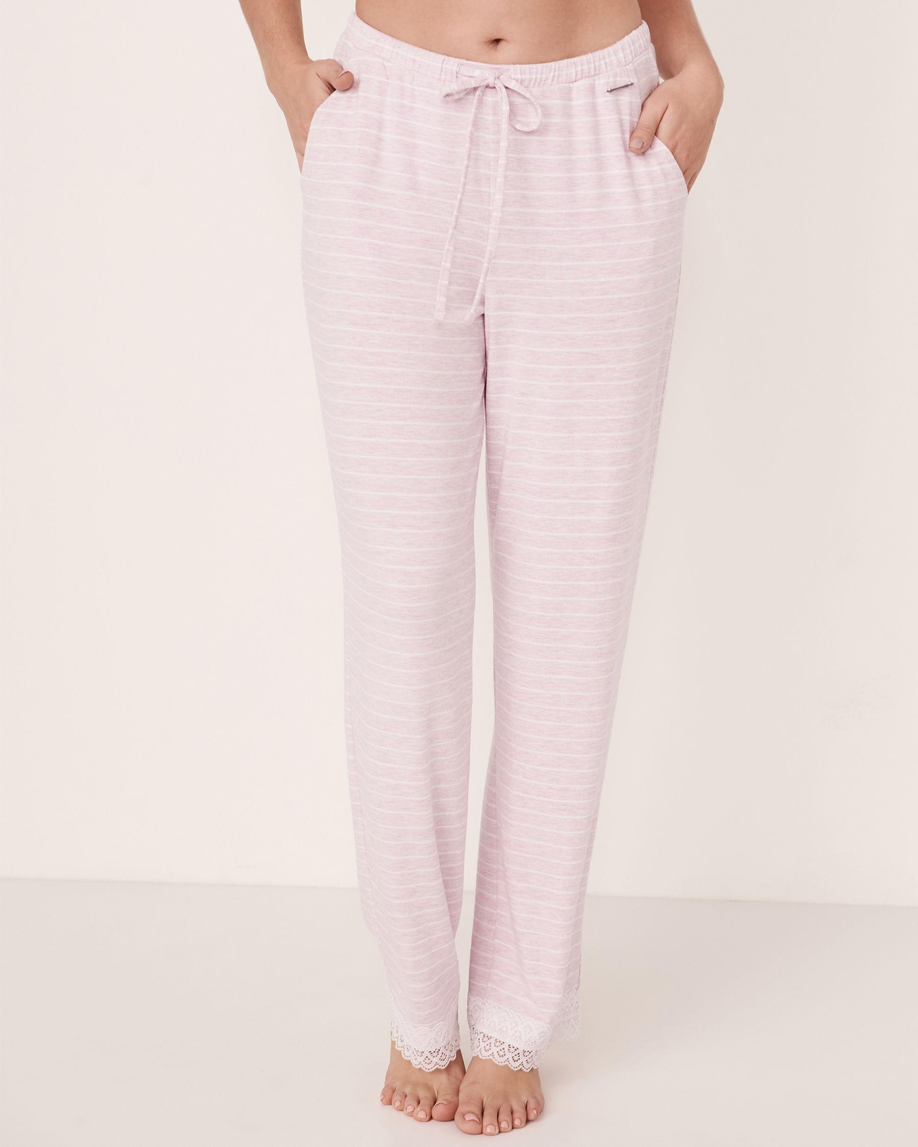 LA VIE EN ROSE Lace Trim Straight Leg Pant Stripes 50200005 - View1