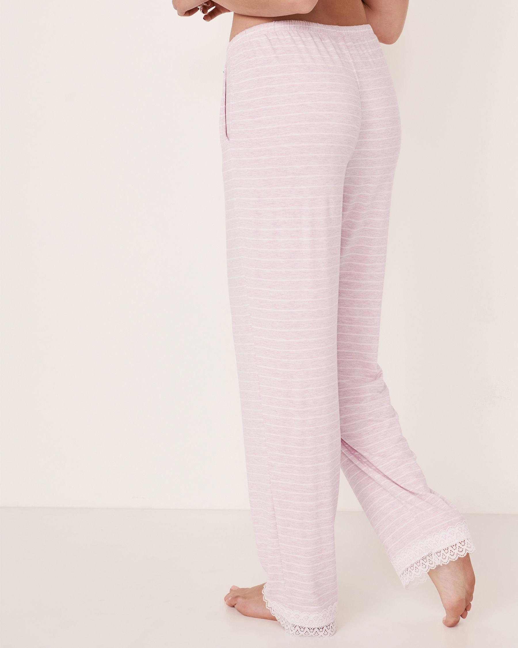LA VIE EN ROSE Lace Trim Straight Leg Pant Stripes 50200005 - View2