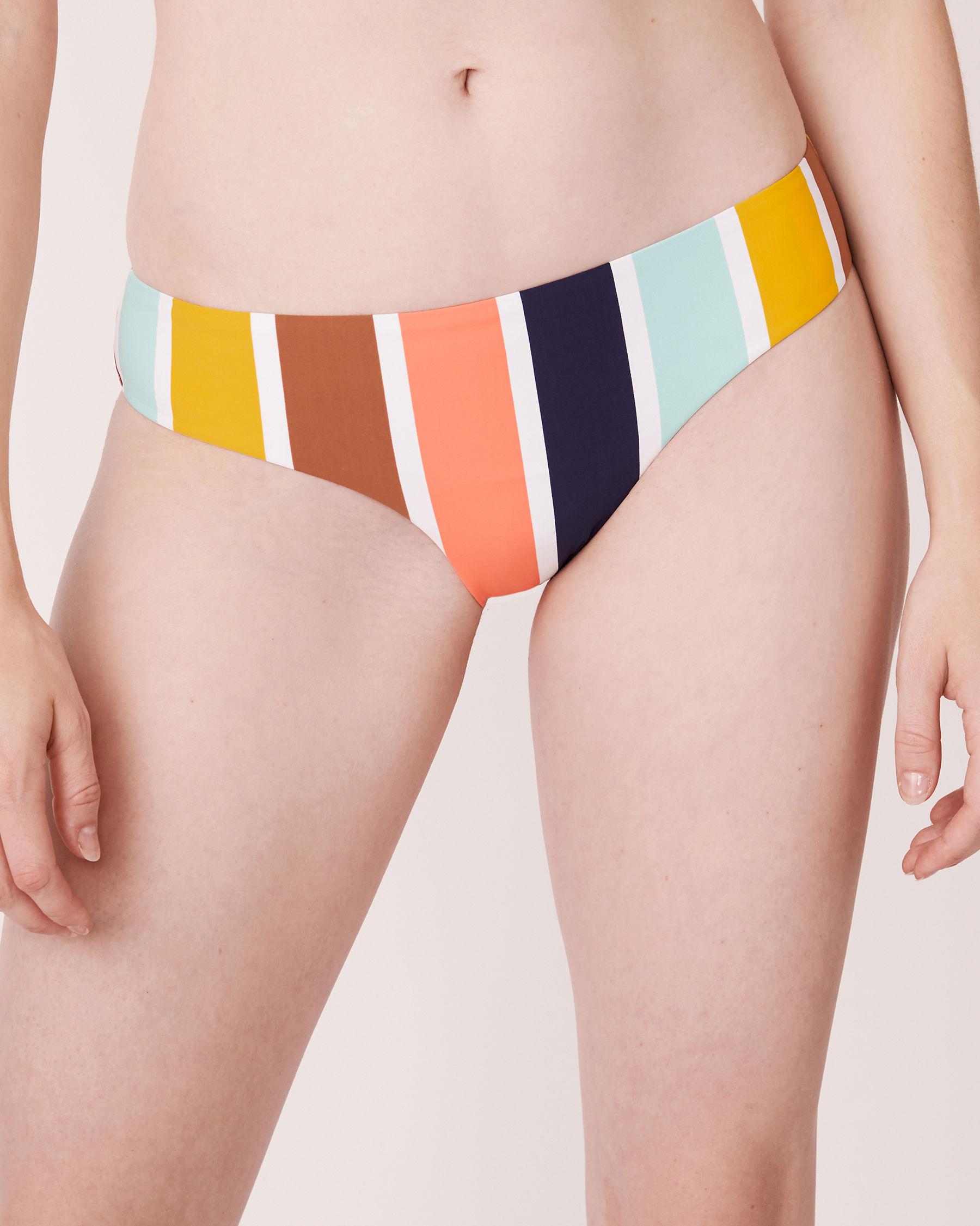 AQUAROSE Bas de bikini cheeky en fibres recyclées JUNIPER Rayures multicolores 70300034 - Voir1