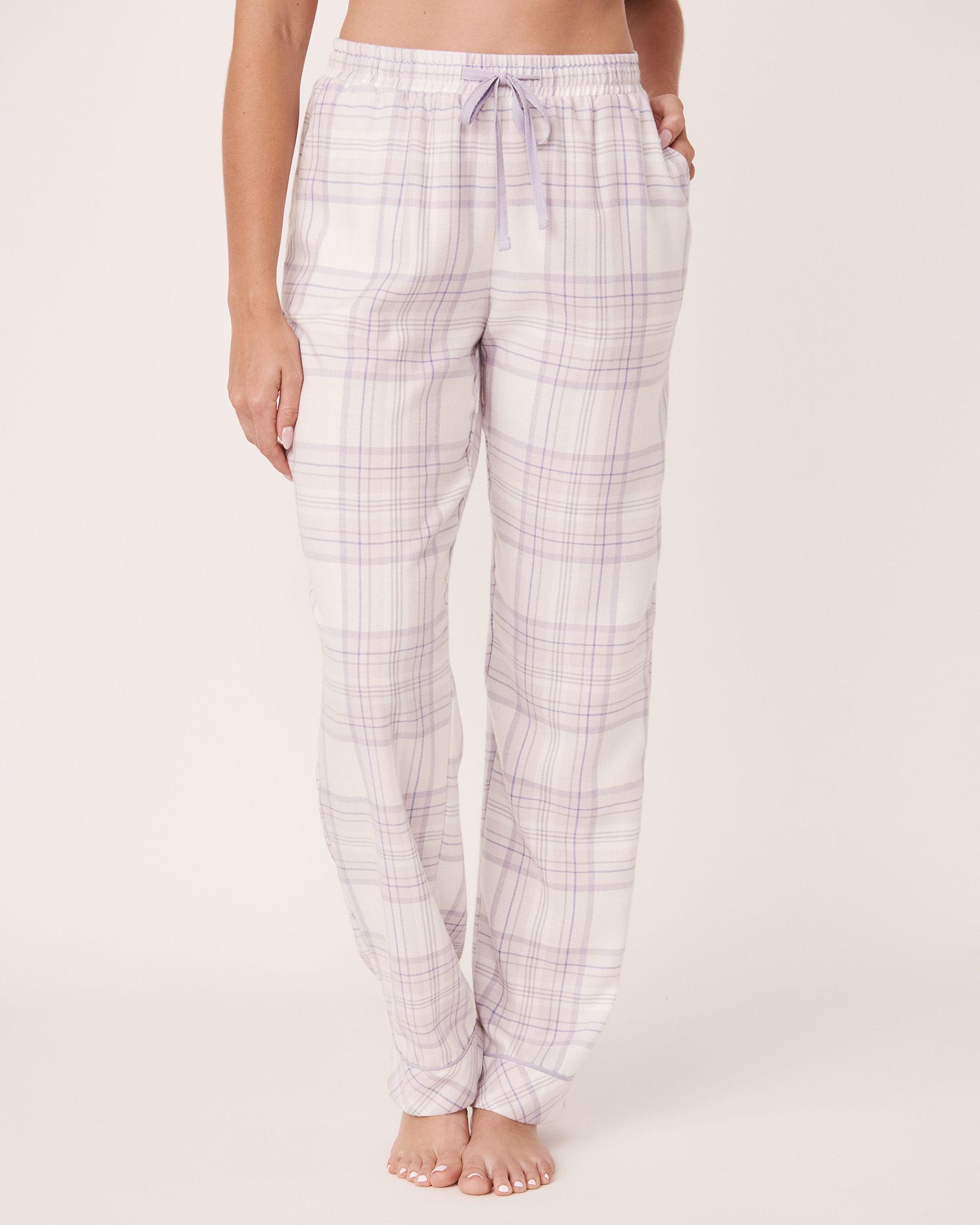 LA VIE EN ROSE Flannel Wide Leg Pyjama Pant Lavender-blue plaid 40200130 - View1