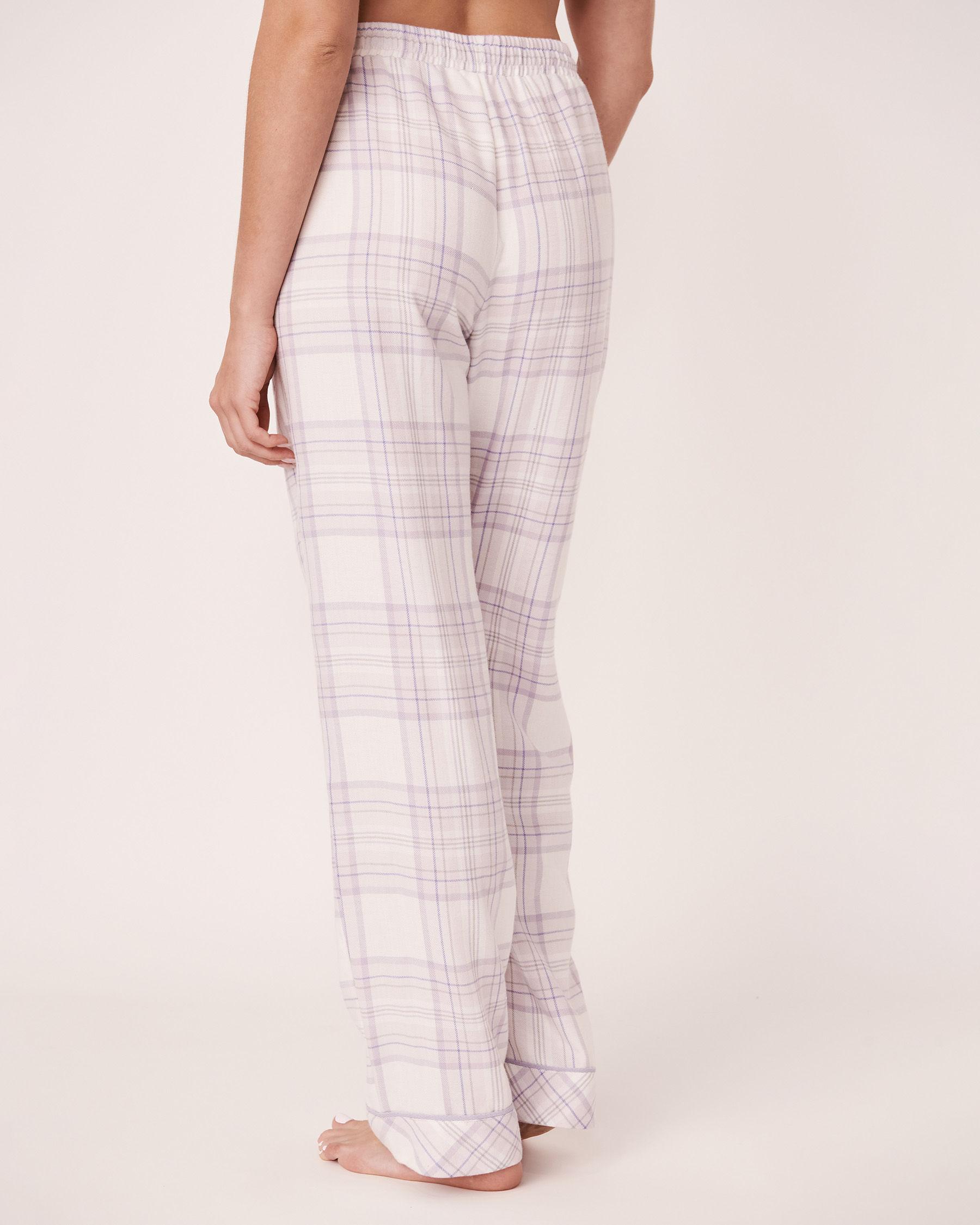 LA VIE EN ROSE Flannel Wide Leg Pyjama Pant Lavender-blue plaid 40200130 - View2