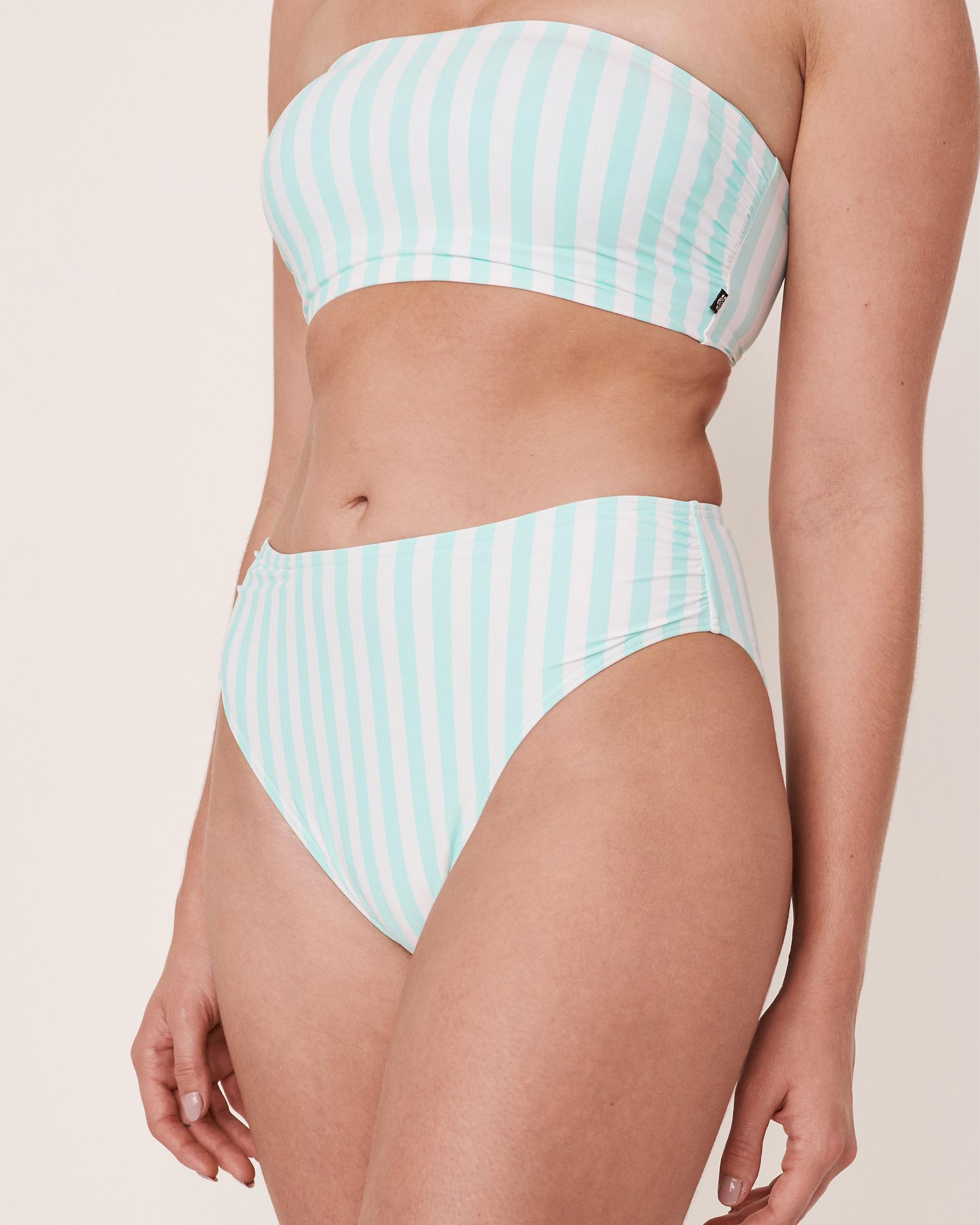 LA VIE EN ROSE AQUA Bas de bikini brésilien taille haute en fibres recyclées OCEAN Rayures aqua et blanches 70300069 - Voir1