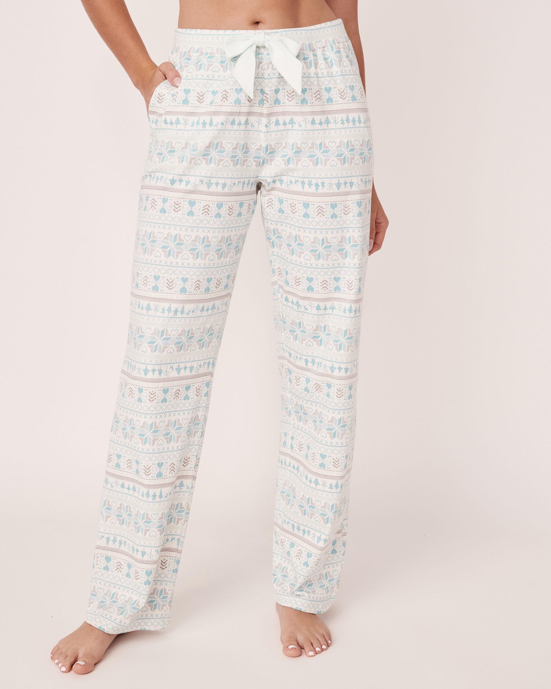 LA VIE EN ROSE Pantalon jambe droite en coton biologique Imprimé nordique 40200143 - Voir1