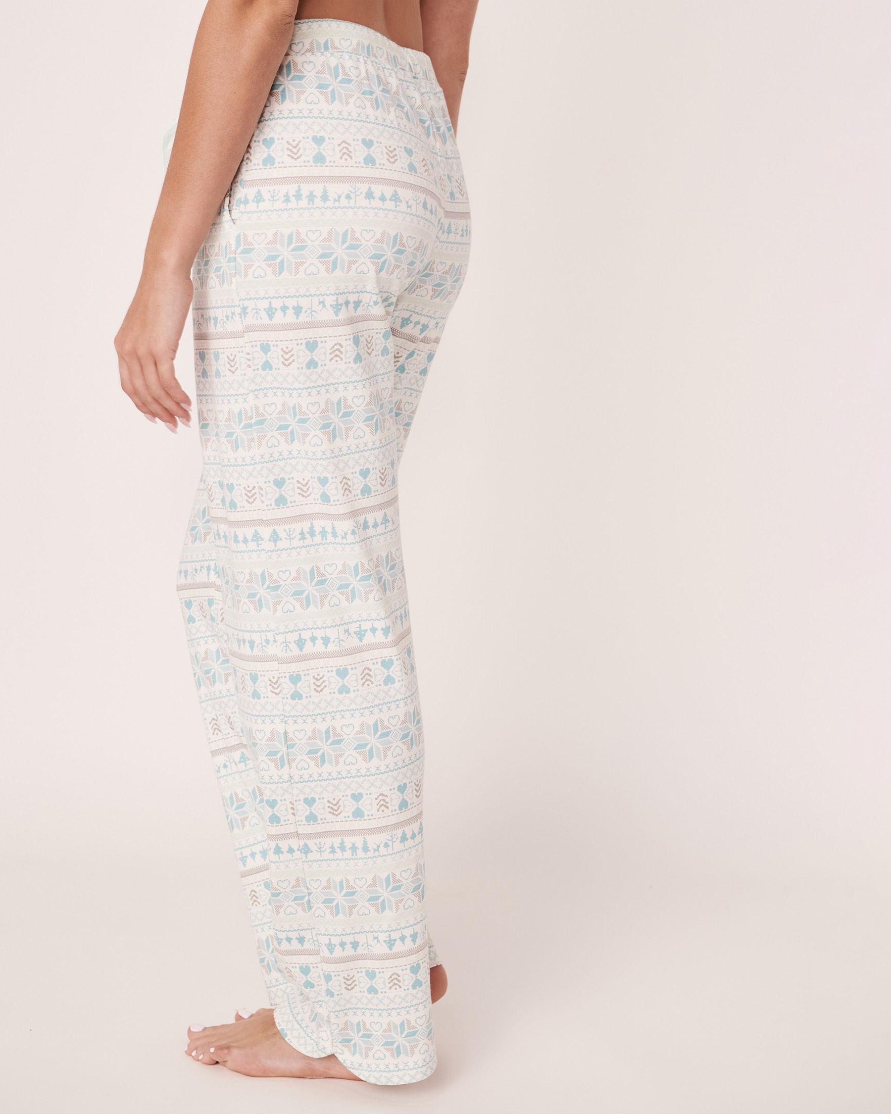 LA VIE EN ROSE Pantalon jambe droite en coton biologique Imprimé nordique 40200143 - Voir2