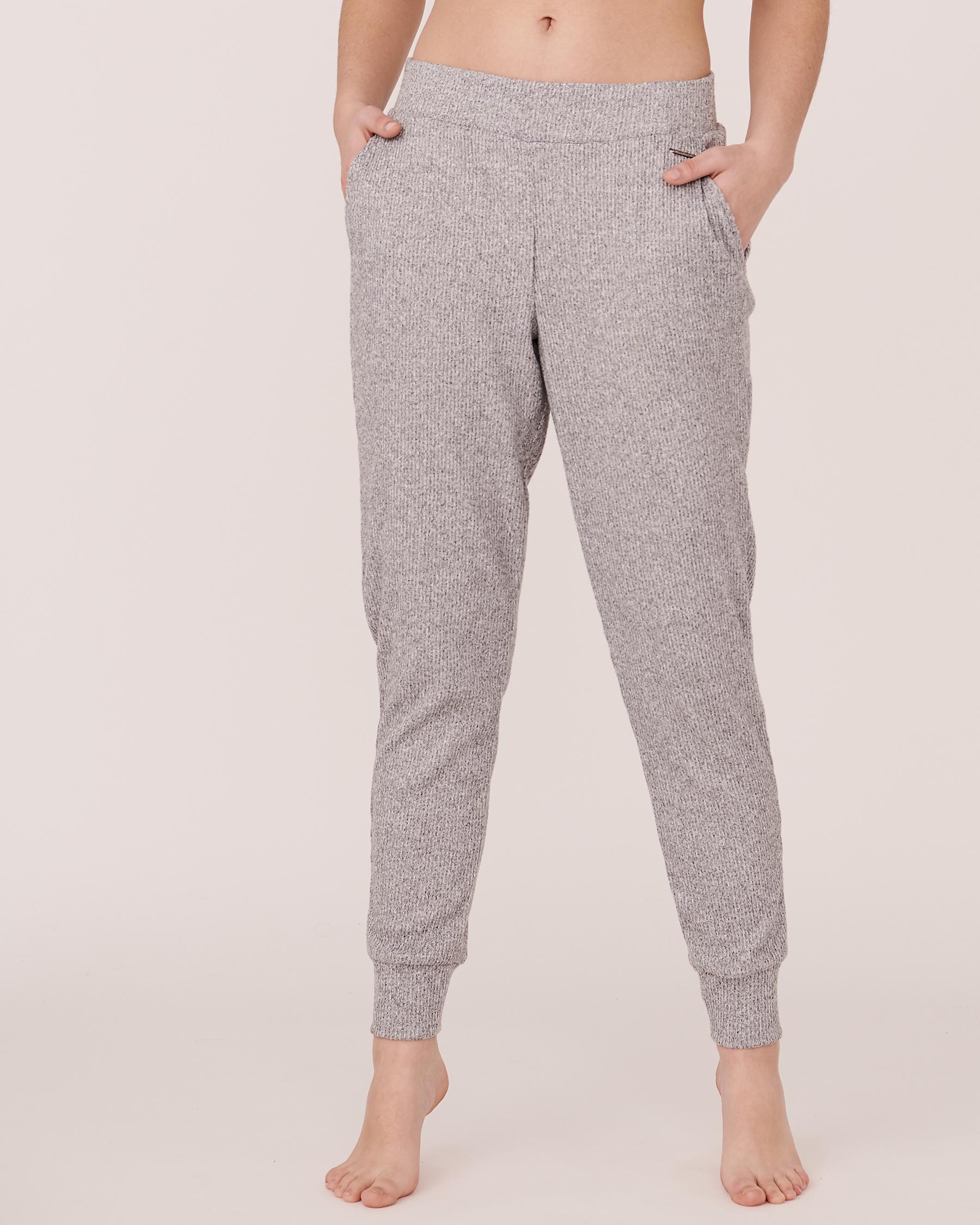 LA VIE EN ROSE Elastic Waistband Ribbed Pant Grey 774-476-0-04 - View1
